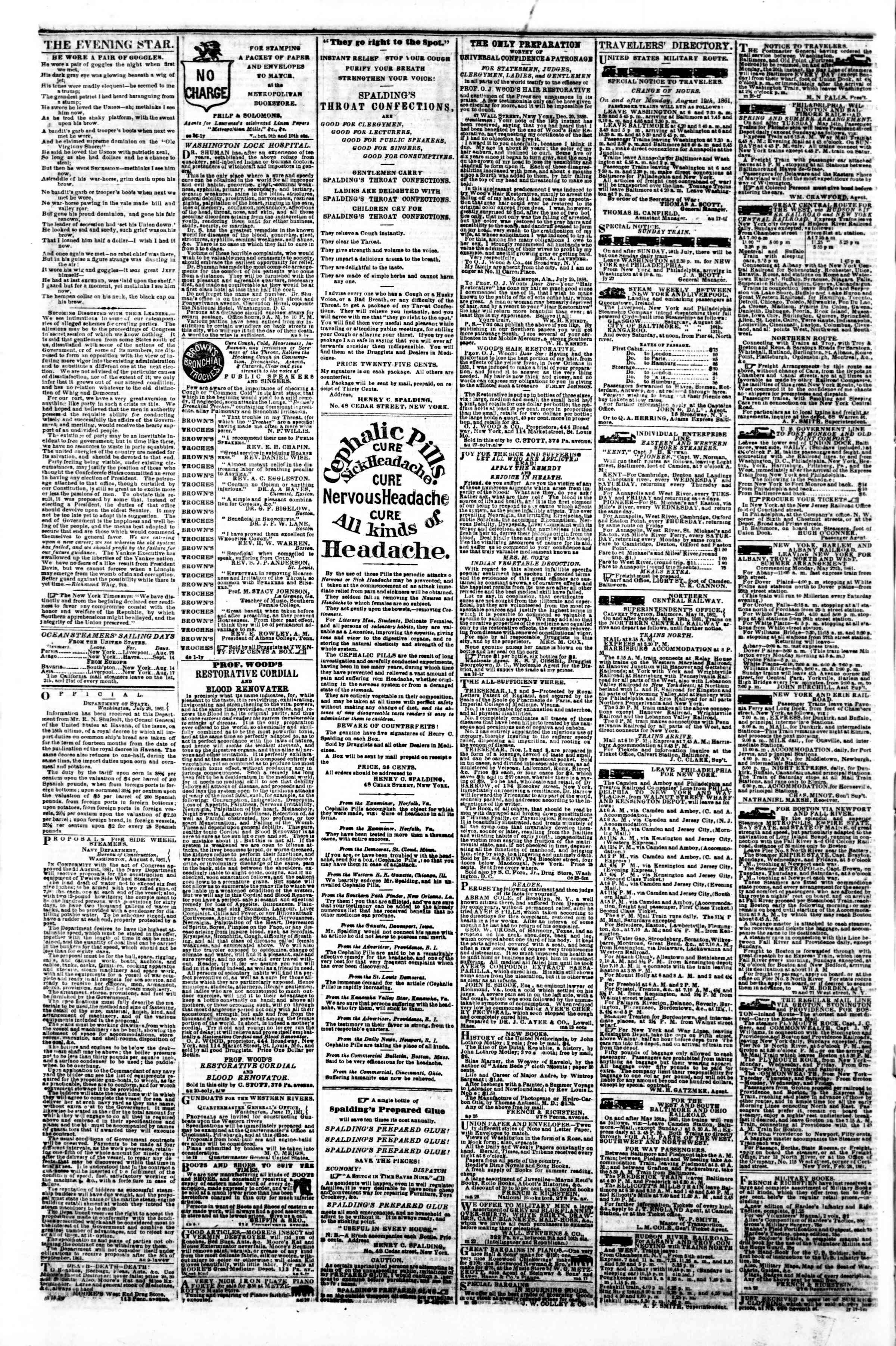 Newspaper of Evening Star dated August 24, 1861 Page 4