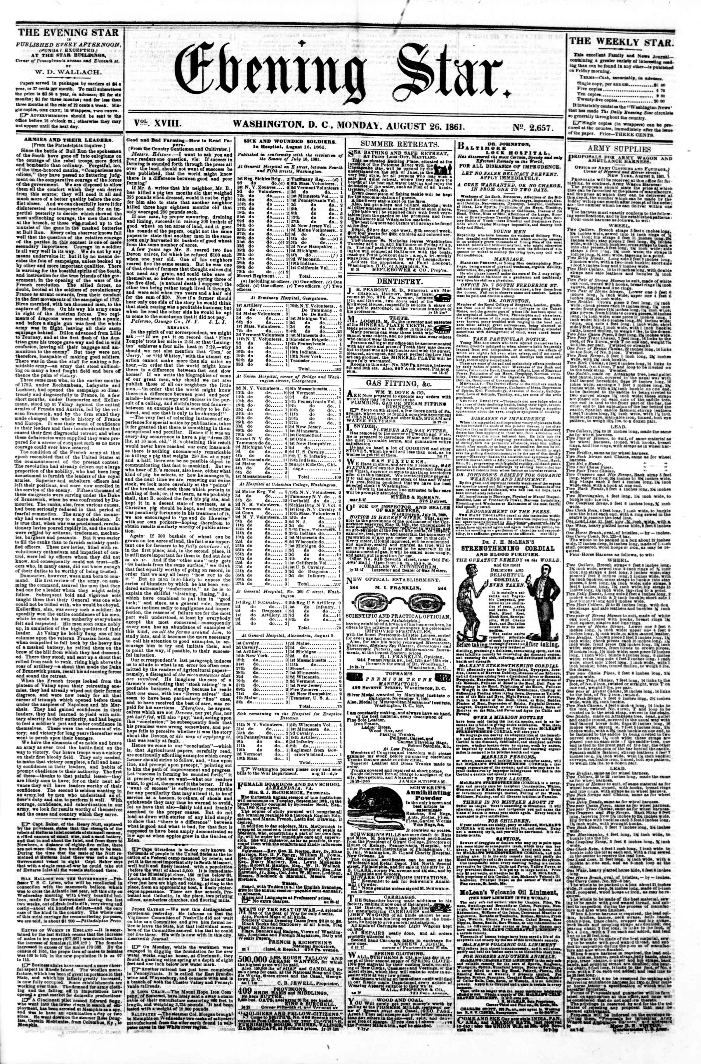 Newspaper of Evening Star dated August 26, 1861 Page 1