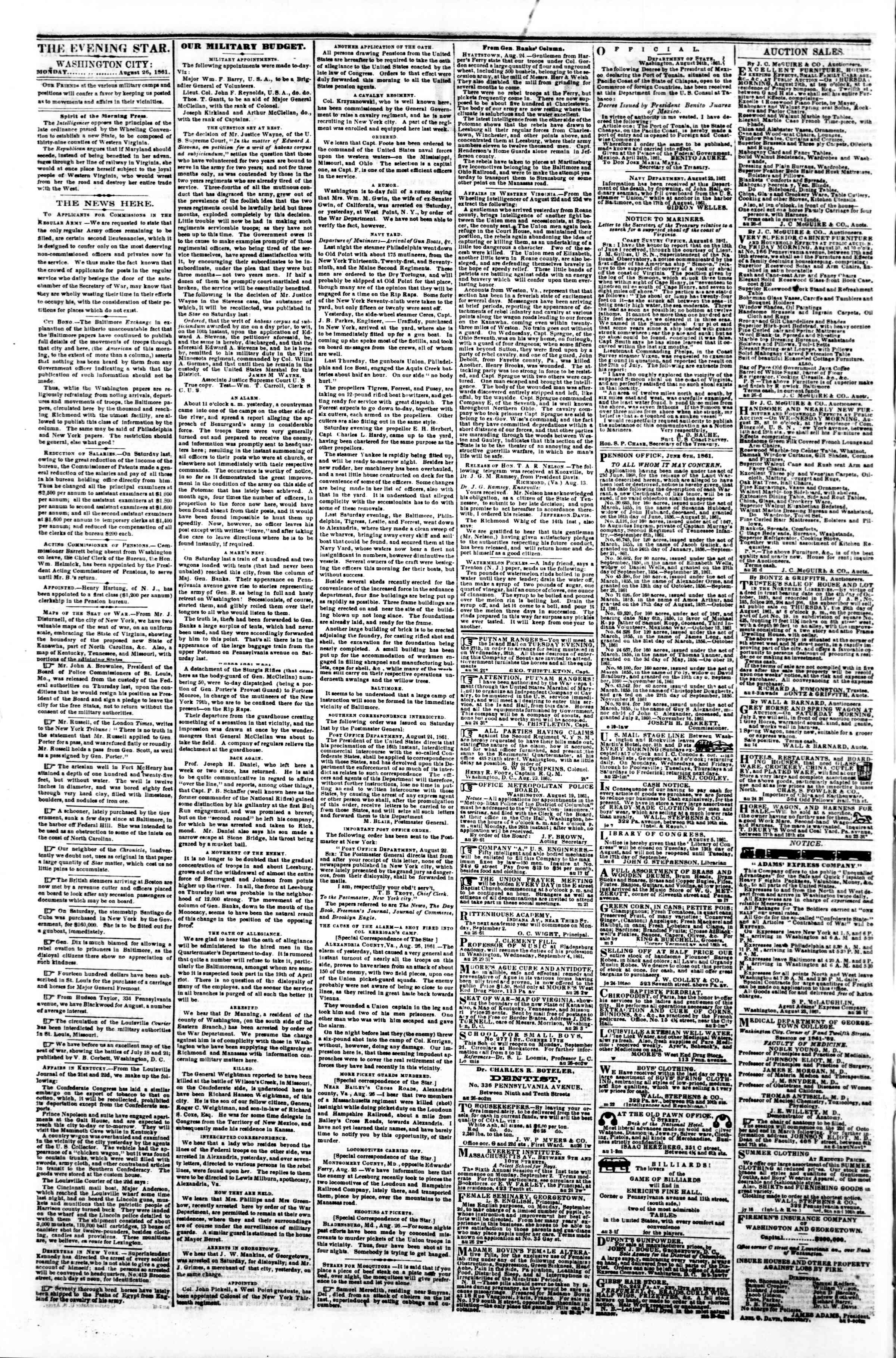 Newspaper of Evening Star dated August 26, 1861 Page 2
