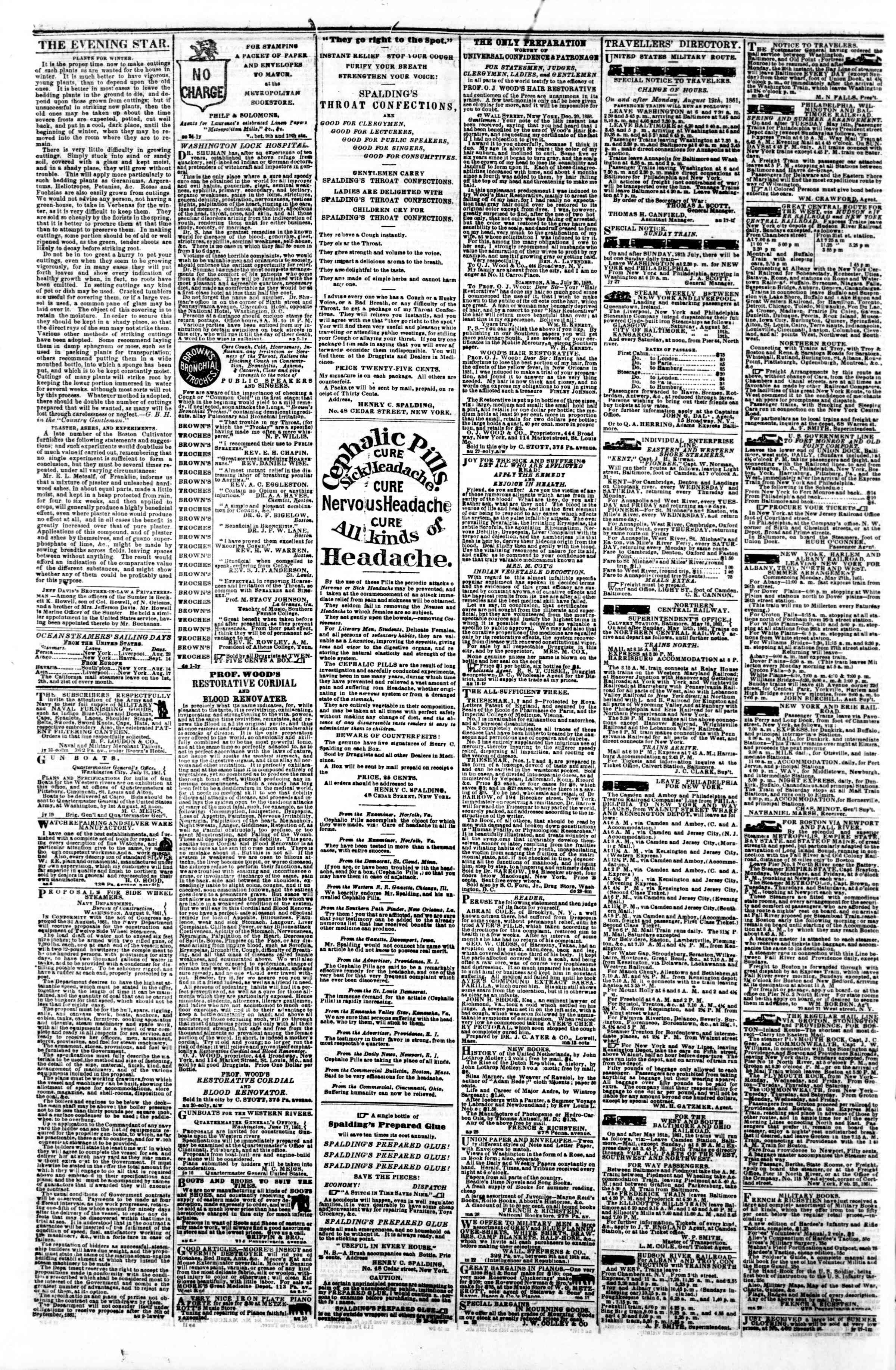 Newspaper of Evening Star dated August 26, 1861 Page 4