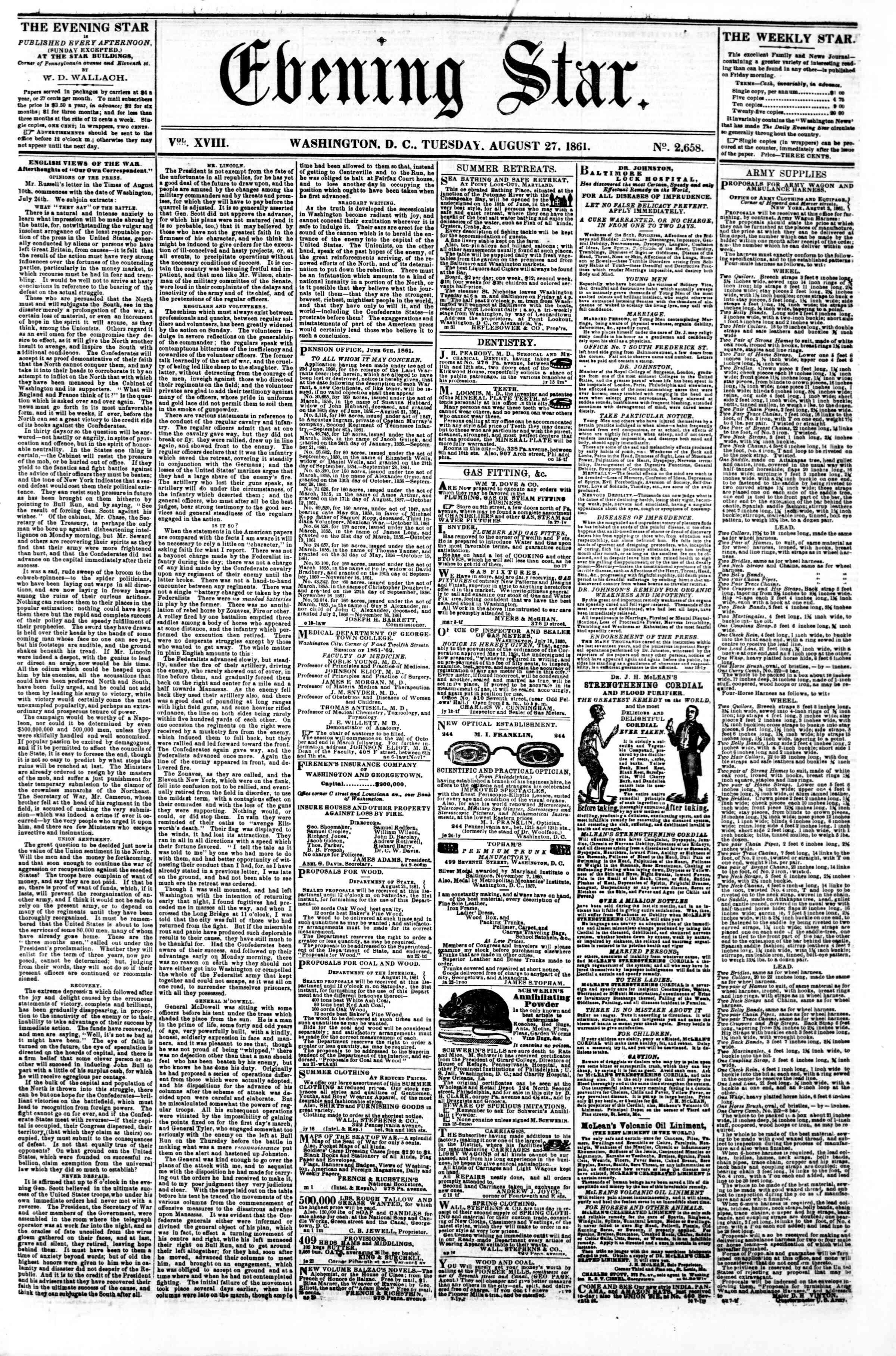 27 Ağustos 1861 tarihli Evening Star Gazetesi Sayfa 1