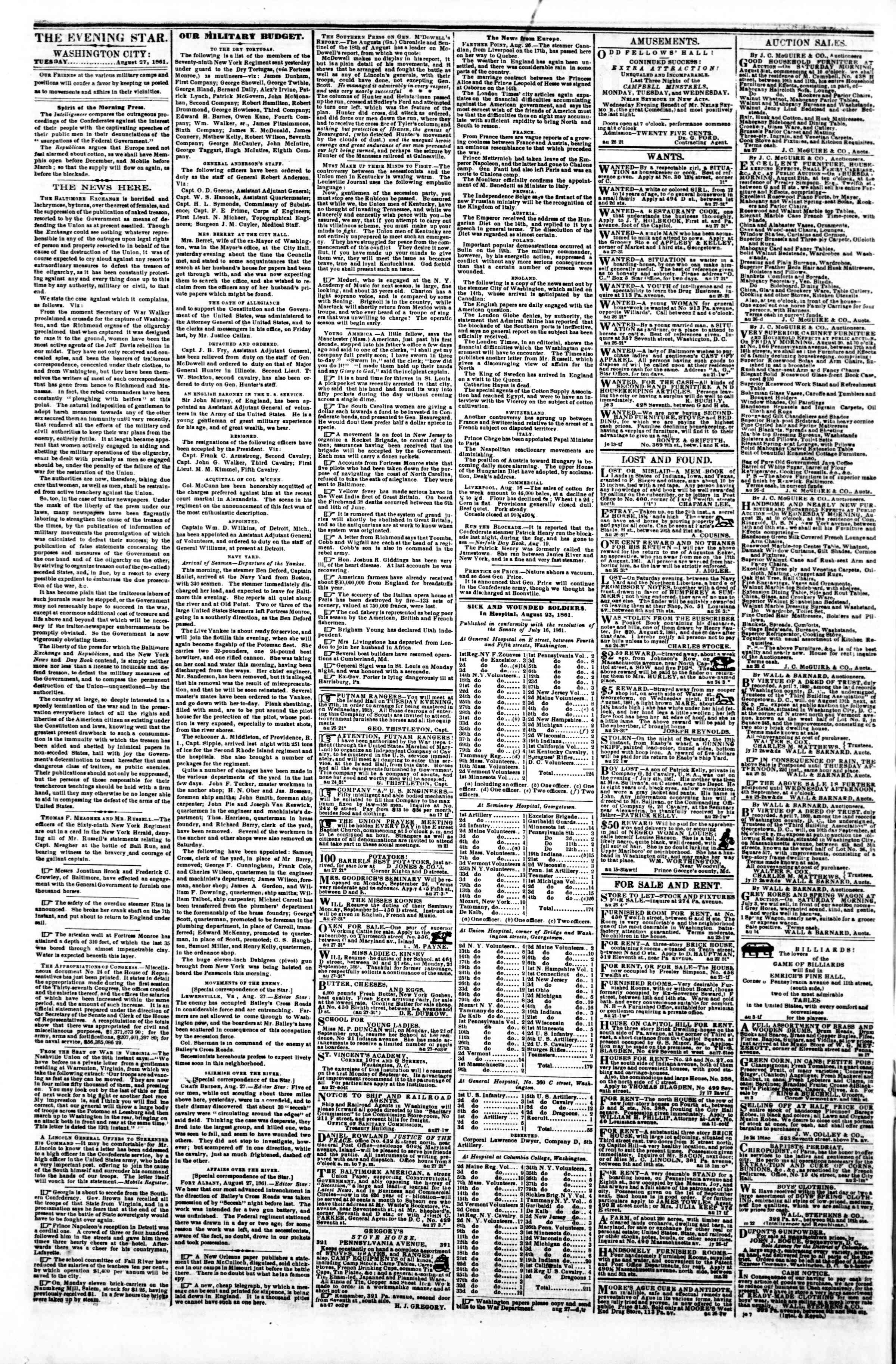 Newspaper of Evening Star dated August 27, 1861 Page 2