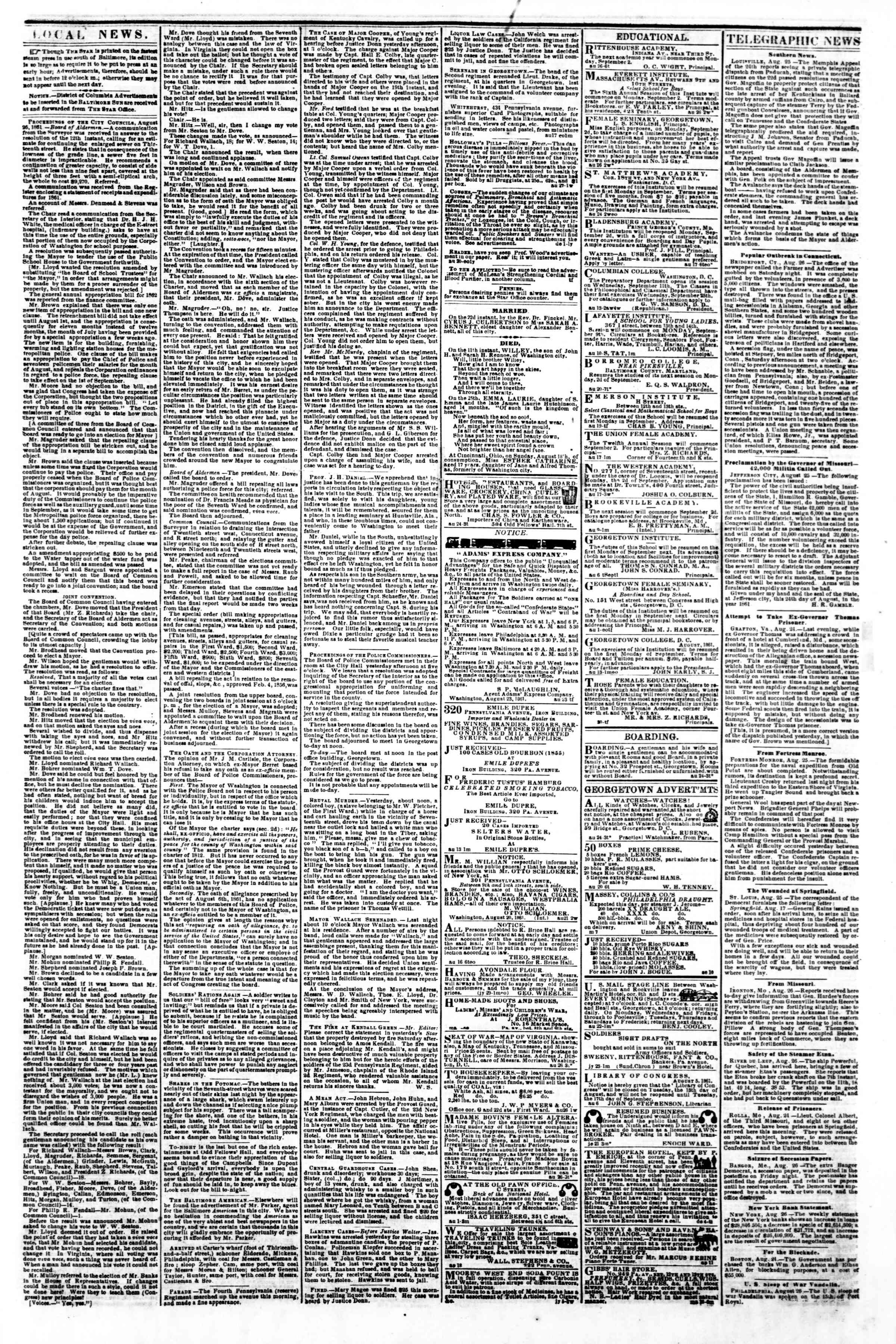 Newspaper of Evening Star dated August 27, 1861 Page 3