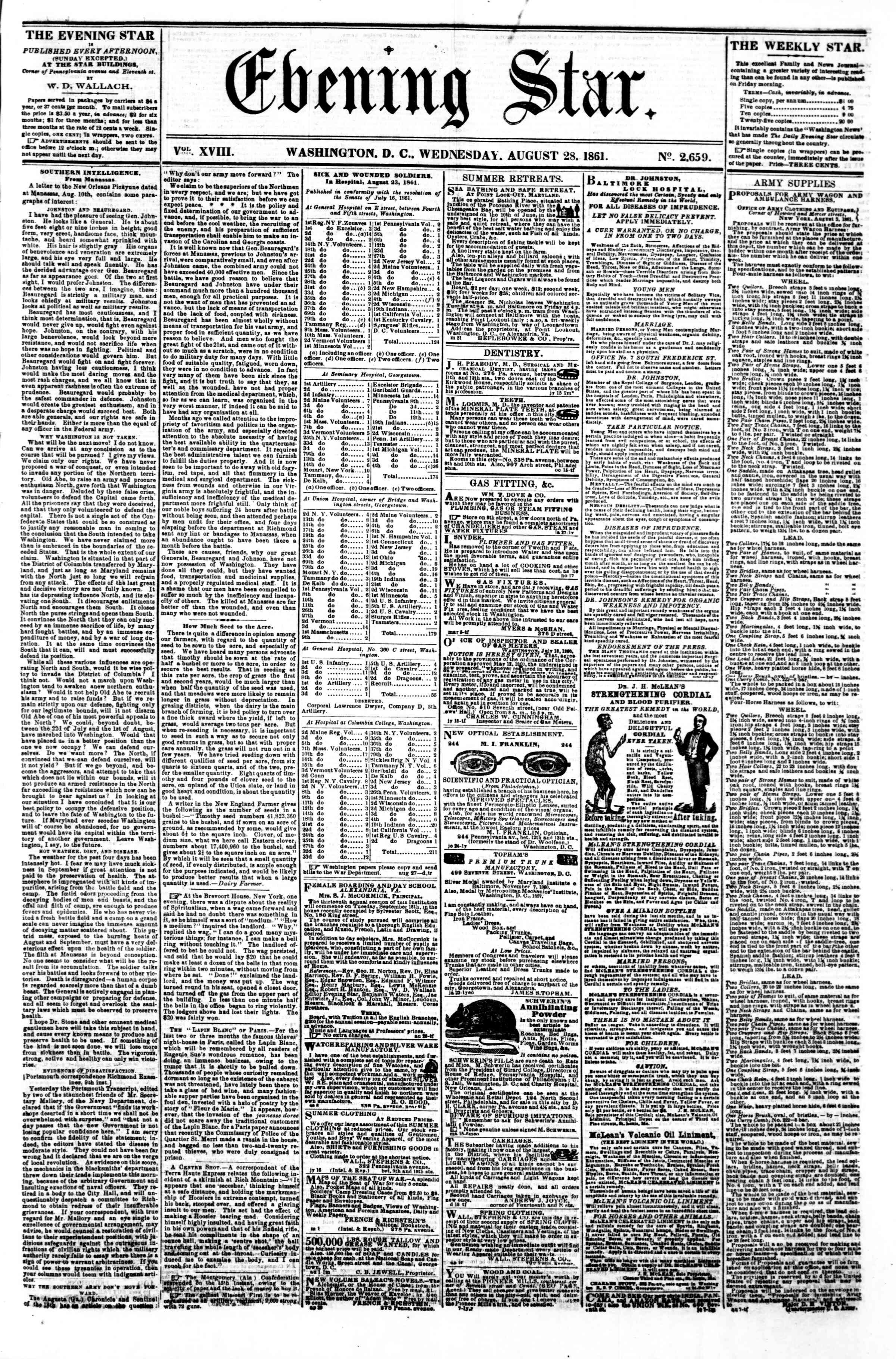 Newspaper of Evening Star dated August 28, 1861 Page 1
