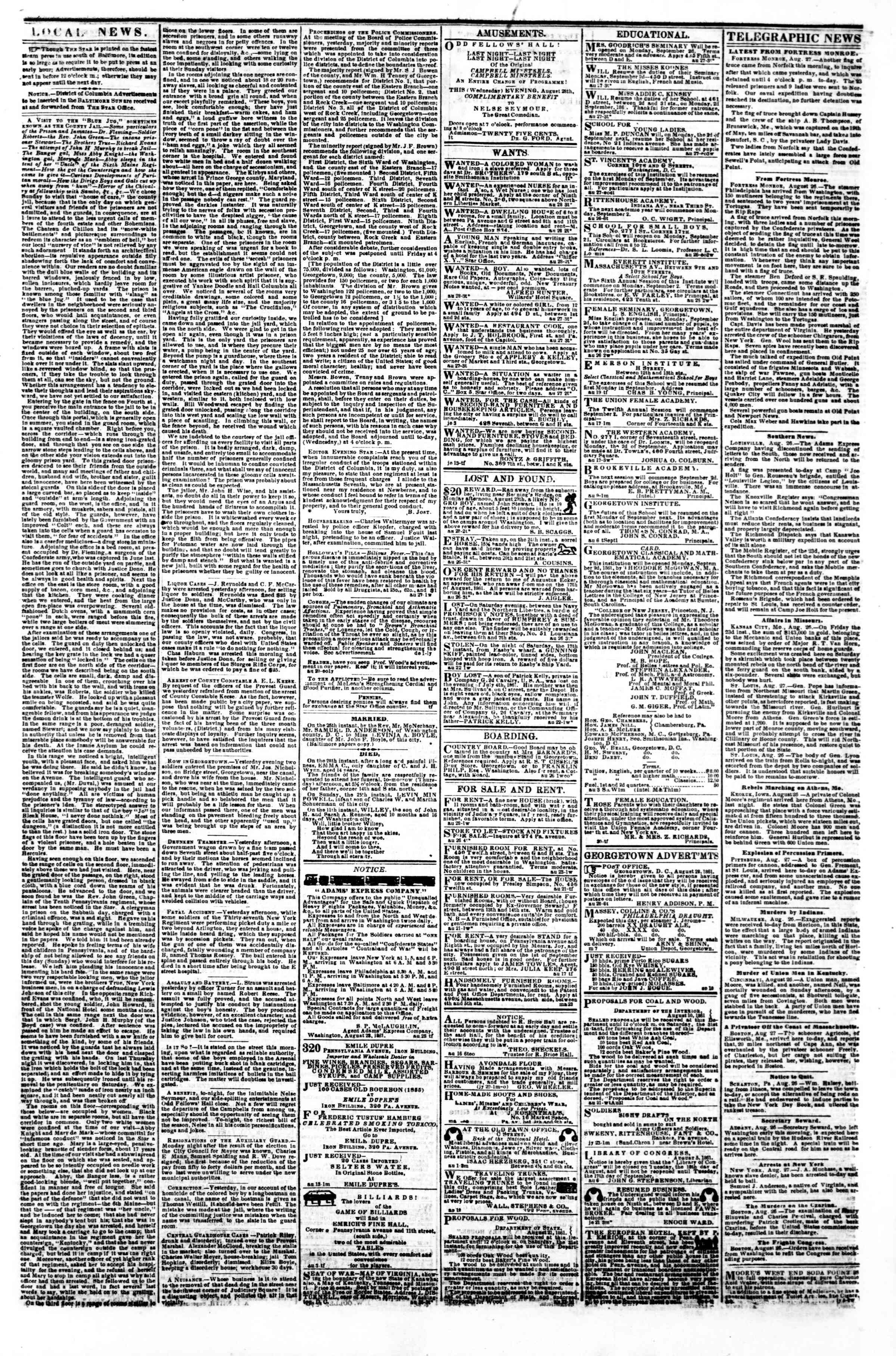 Newspaper of Evening Star dated August 28, 1861 Page 3