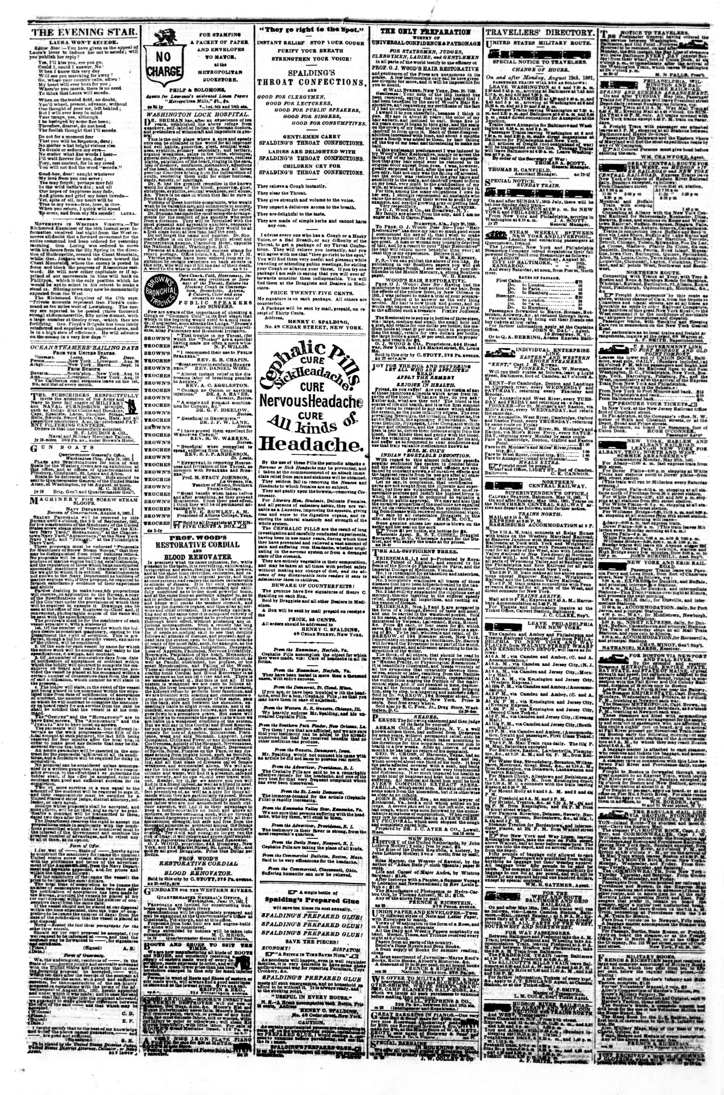 Newspaper of Evening Star dated August 28, 1861 Page 4
