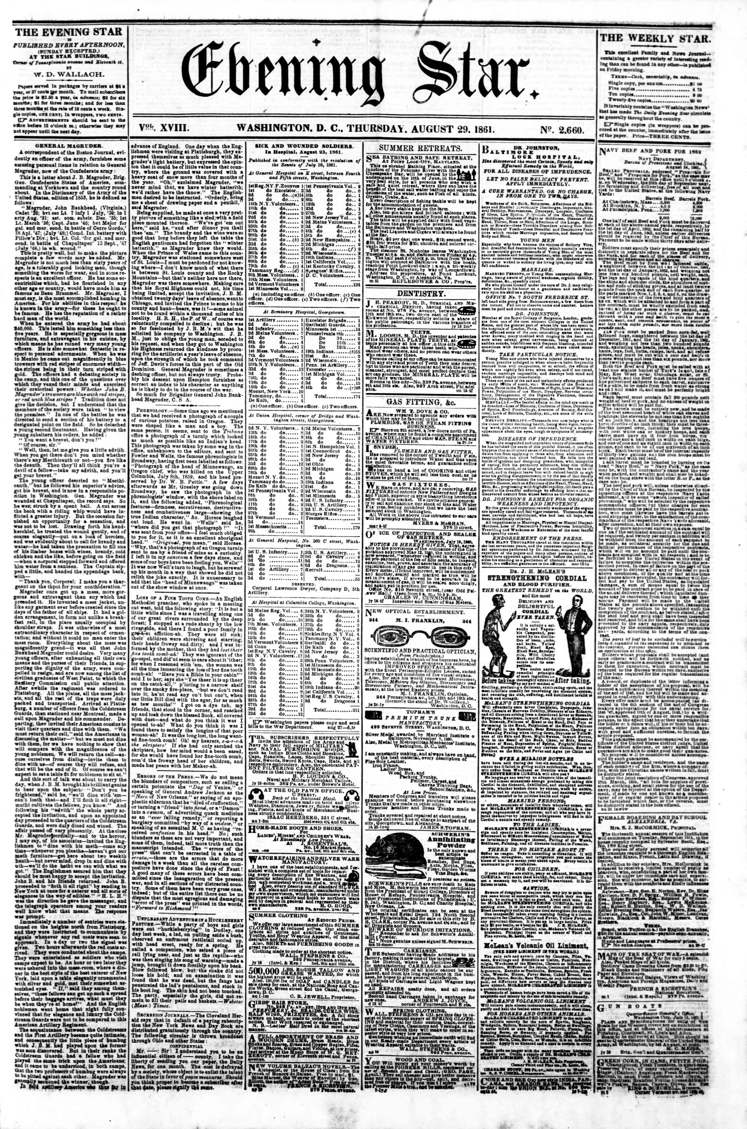 Newspaper of Evening Star dated August 29, 1861 Page 1