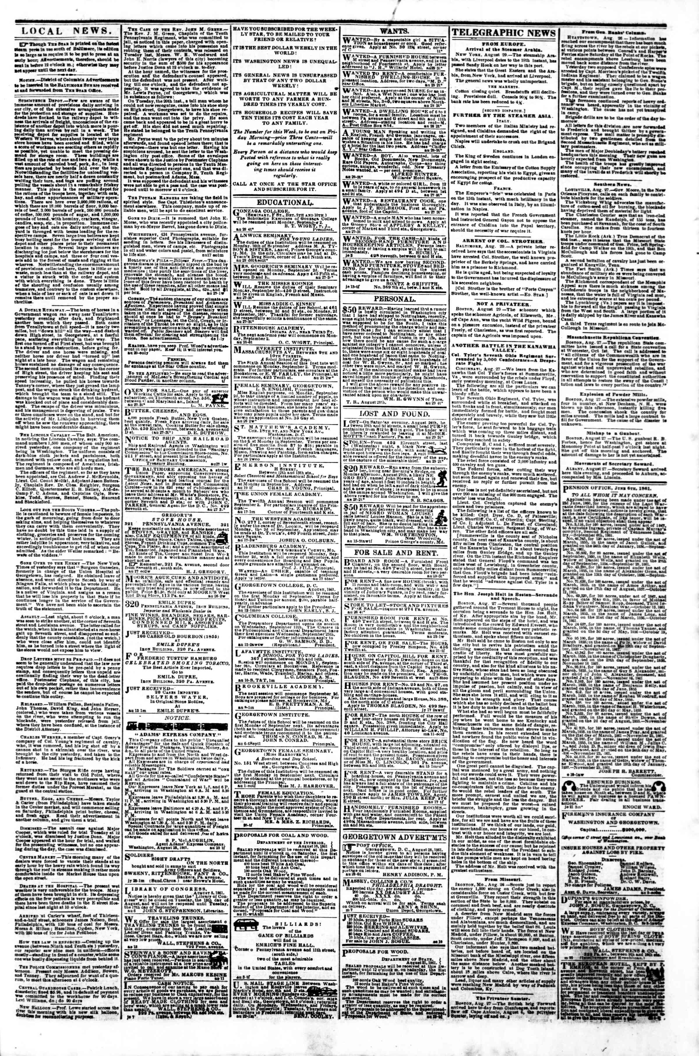 Newspaper of Evening Star dated August 29, 1861 Page 3
