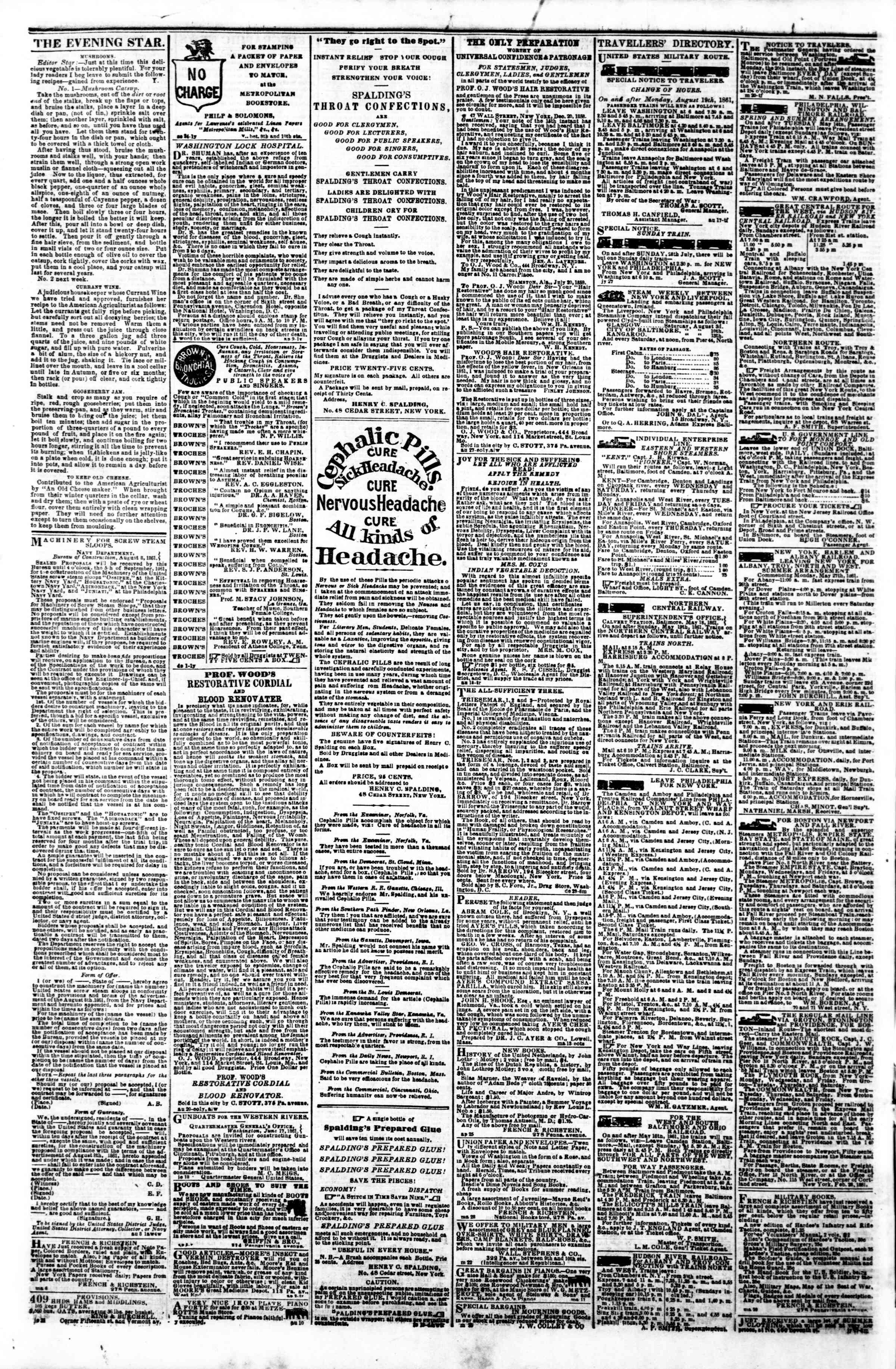 Newspaper of Evening Star dated August 29, 1861 Page 4