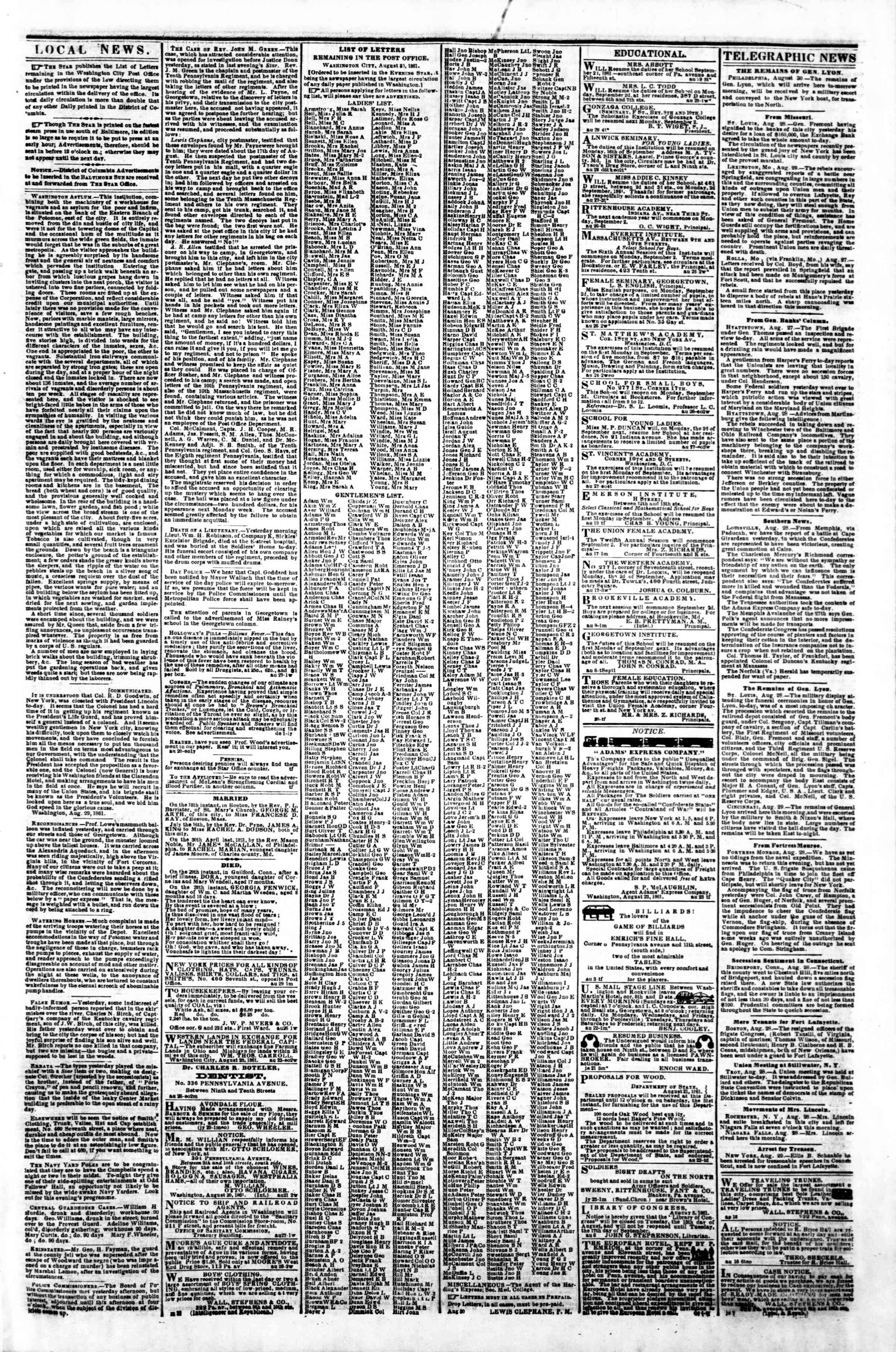 Newspaper of Evening Star dated August 30, 1861 Page 3