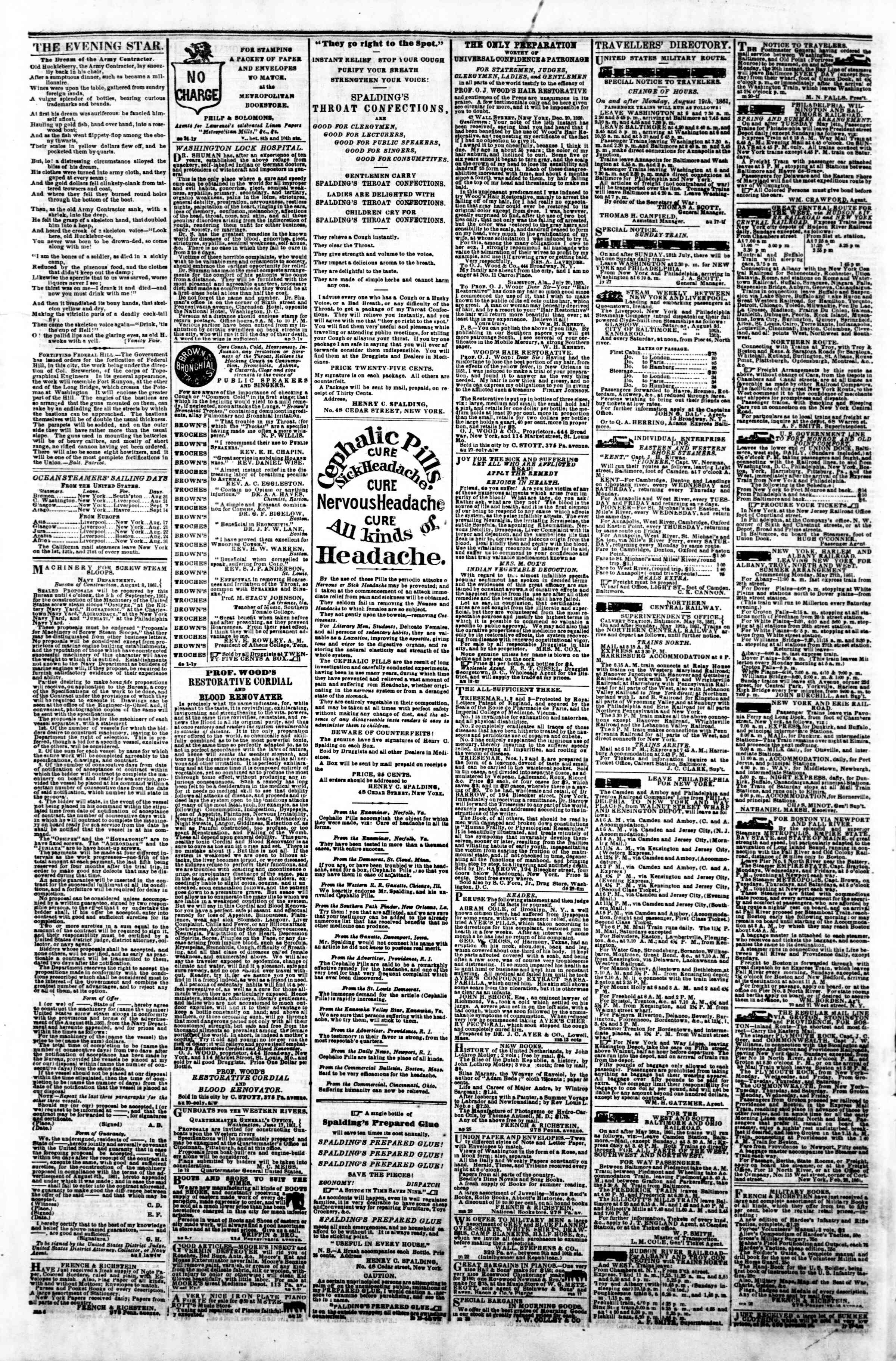 Newspaper of Evening Star dated 30 Ağustos 1861 Page 4