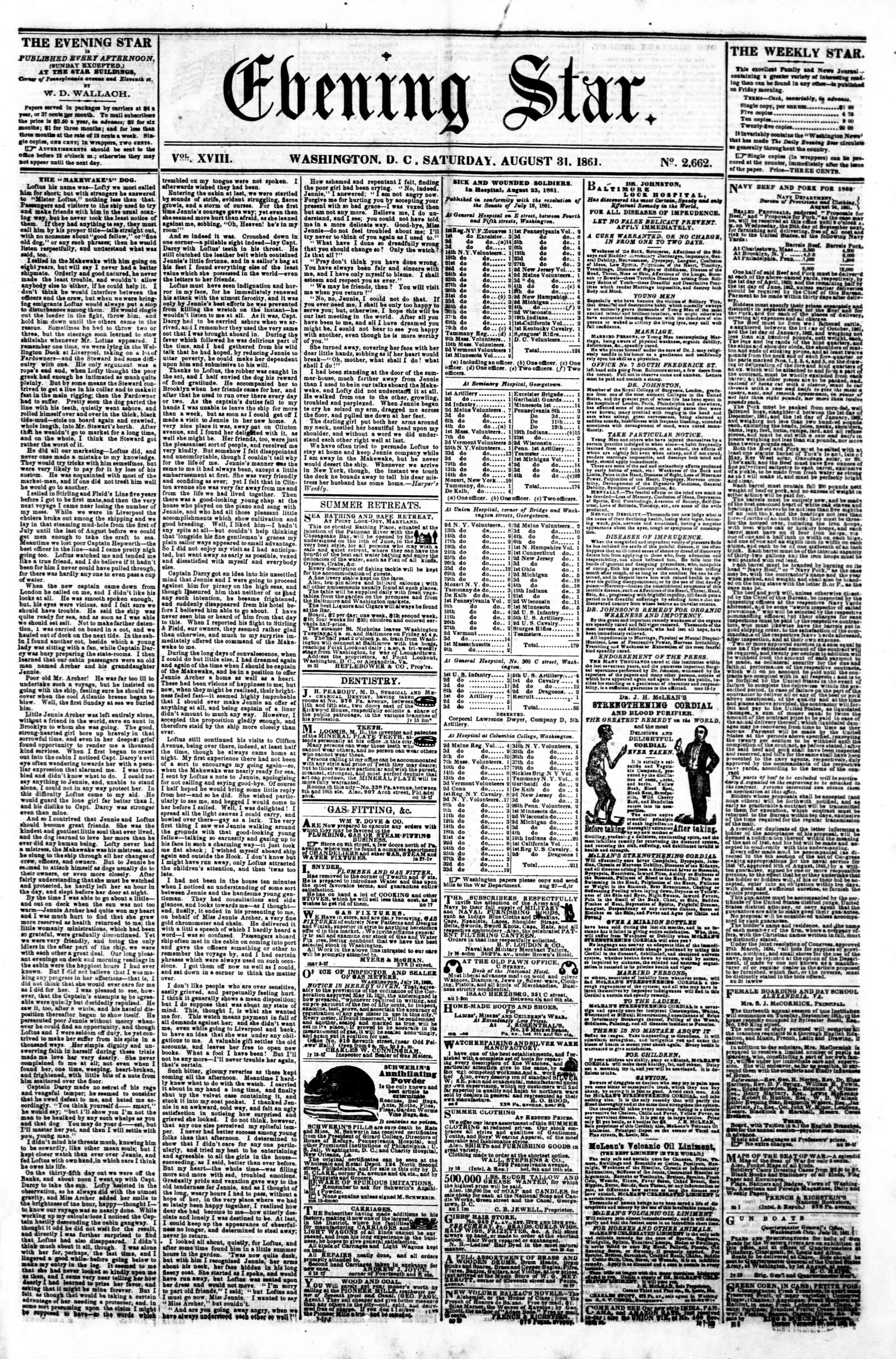 Newspaper of Evening Star dated August 31, 1861 Page 1