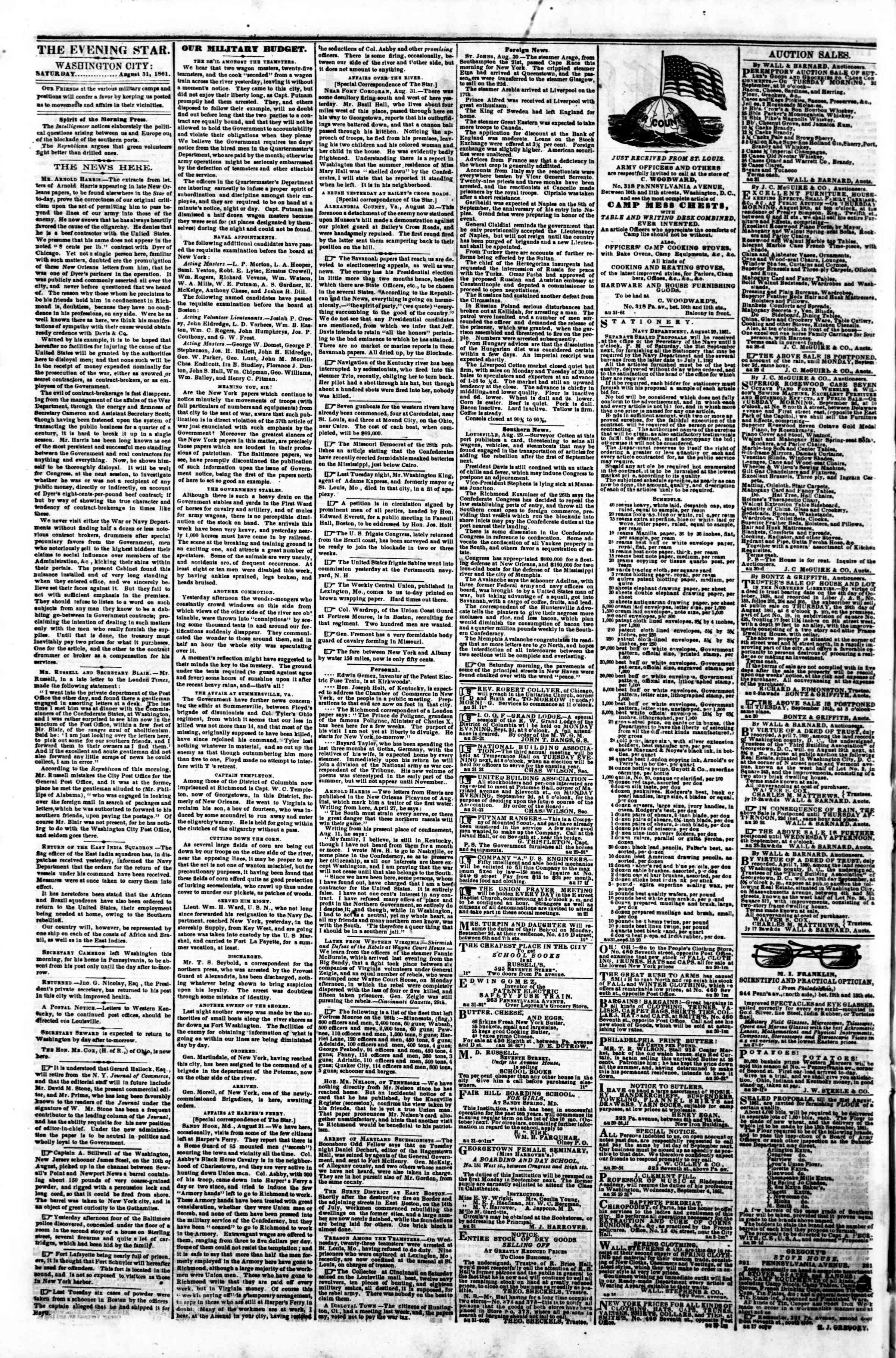 Newspaper of Evening Star dated August 31, 1861 Page 2