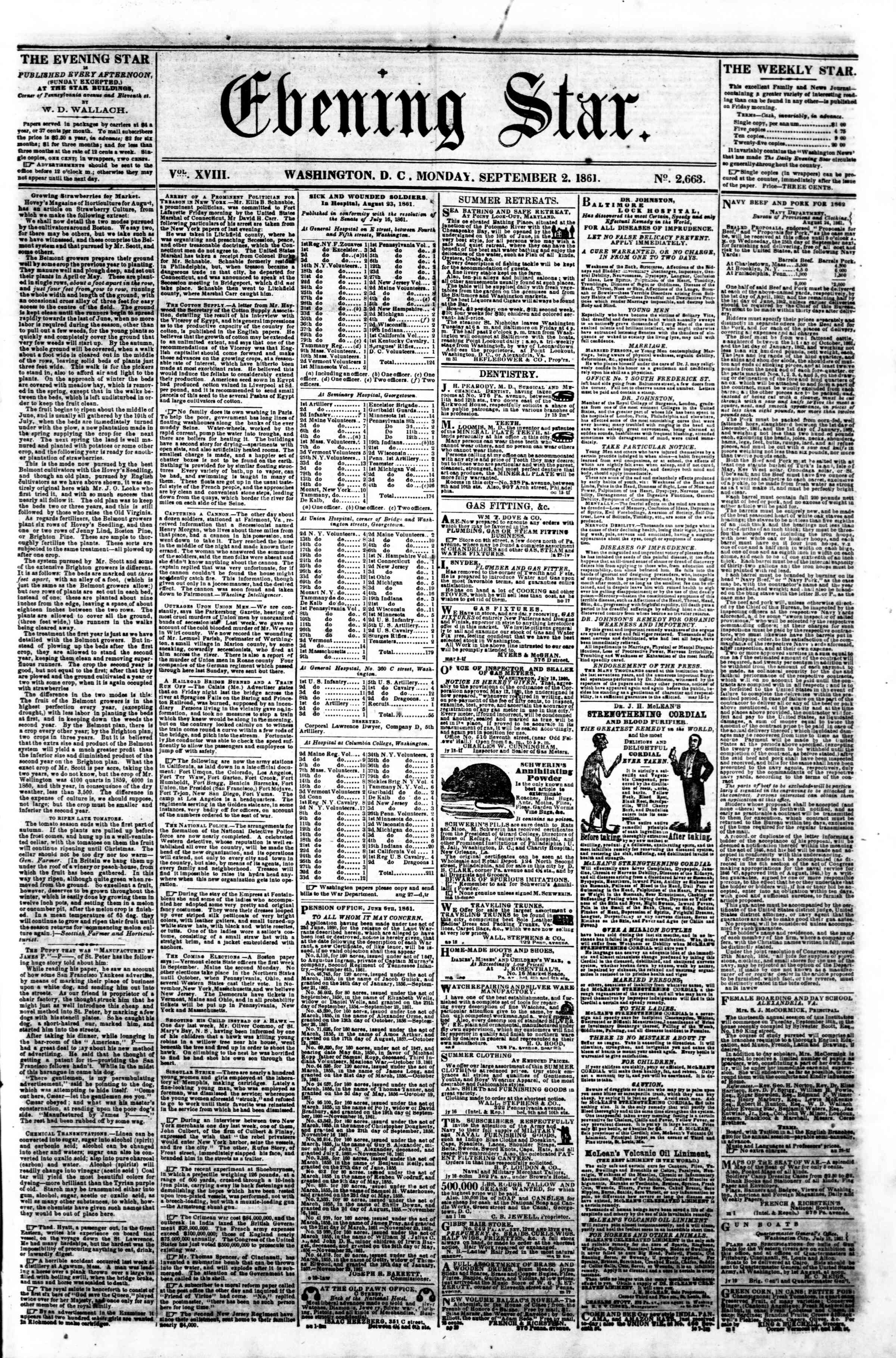 Newspaper of Evening Star dated September 2, 1861 Page 1