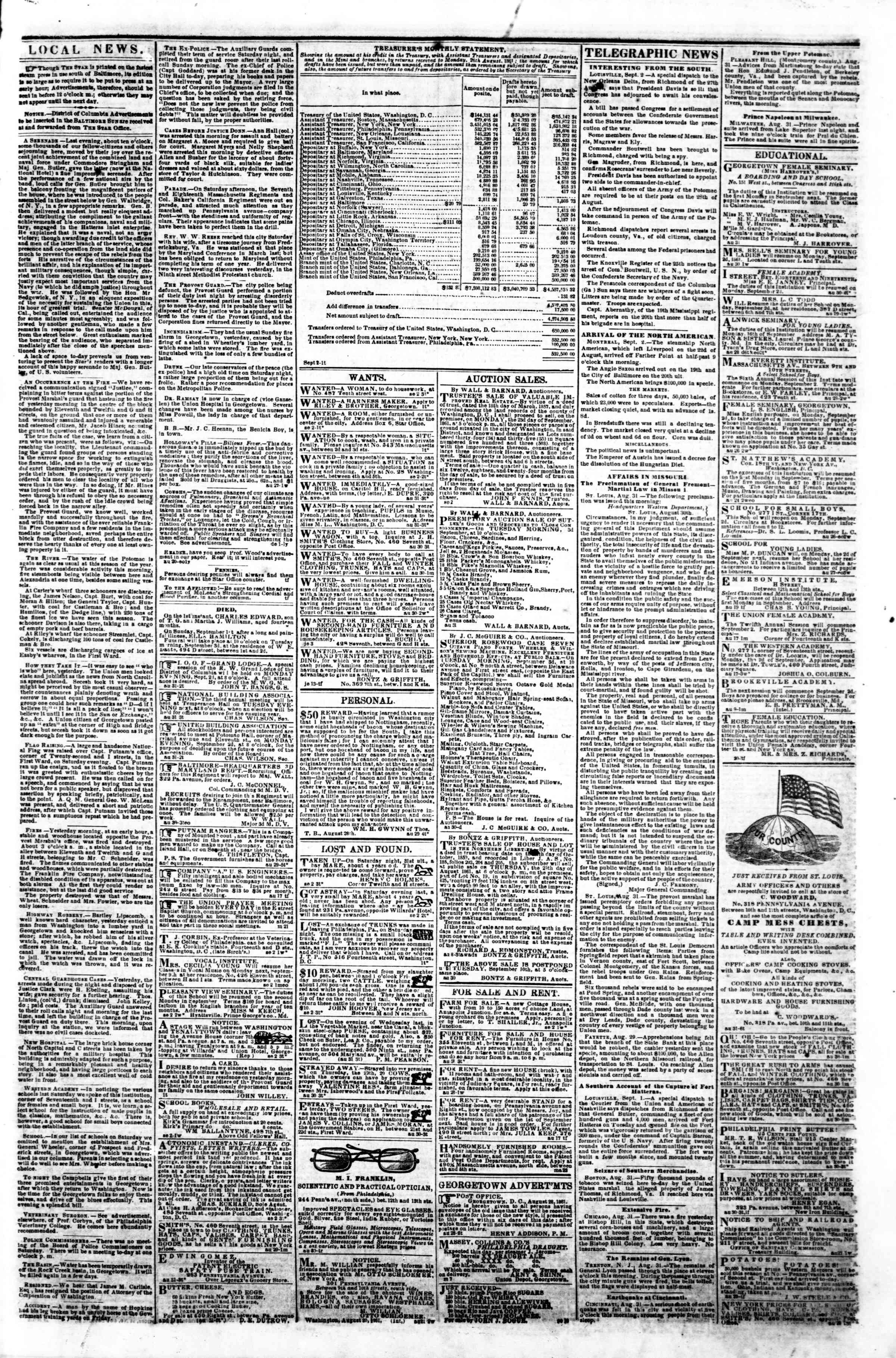 Newspaper of Evening Star dated September 2, 1861 Page 3