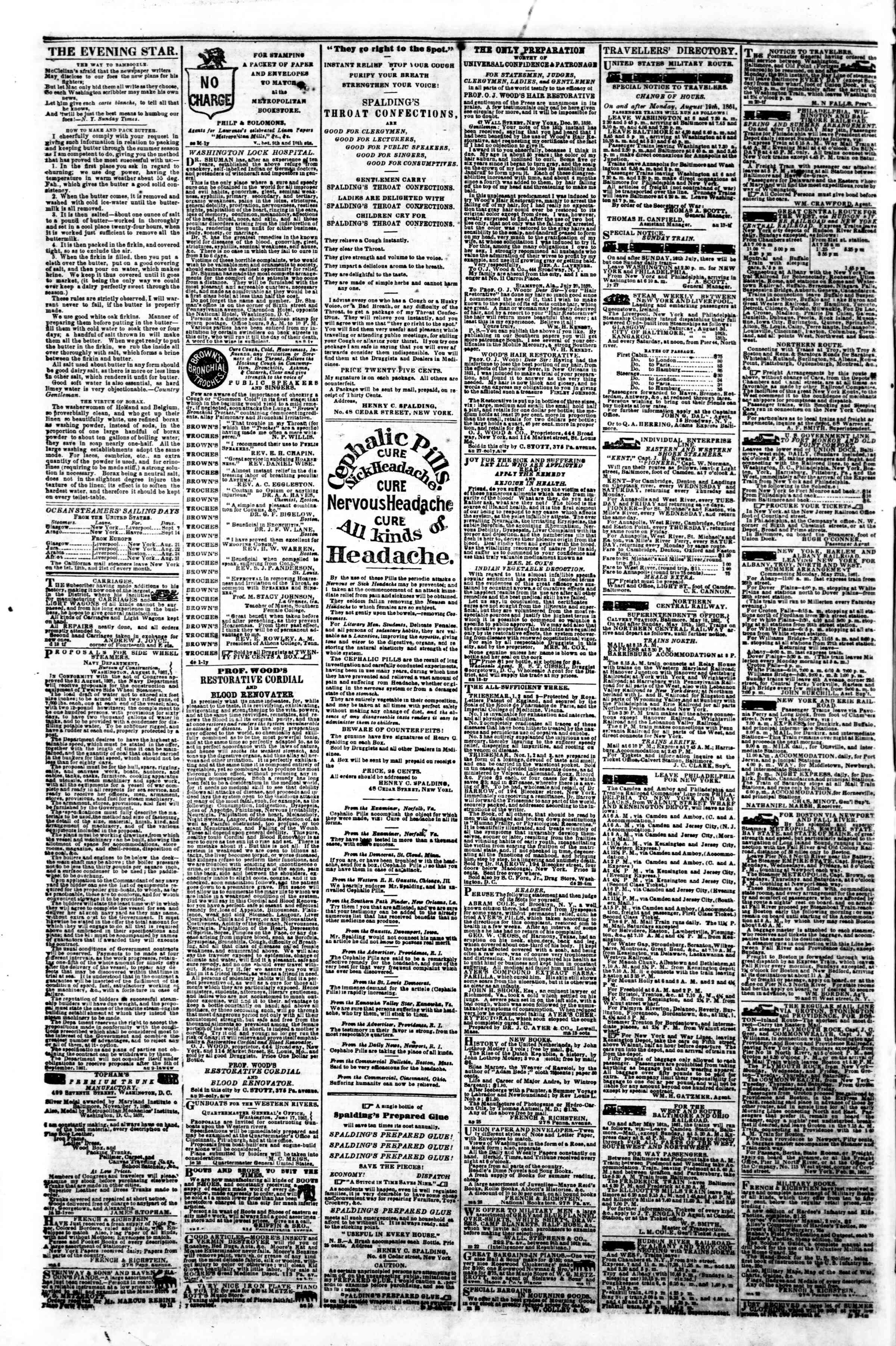 Newspaper of Evening Star dated September 2, 1861 Page 4
