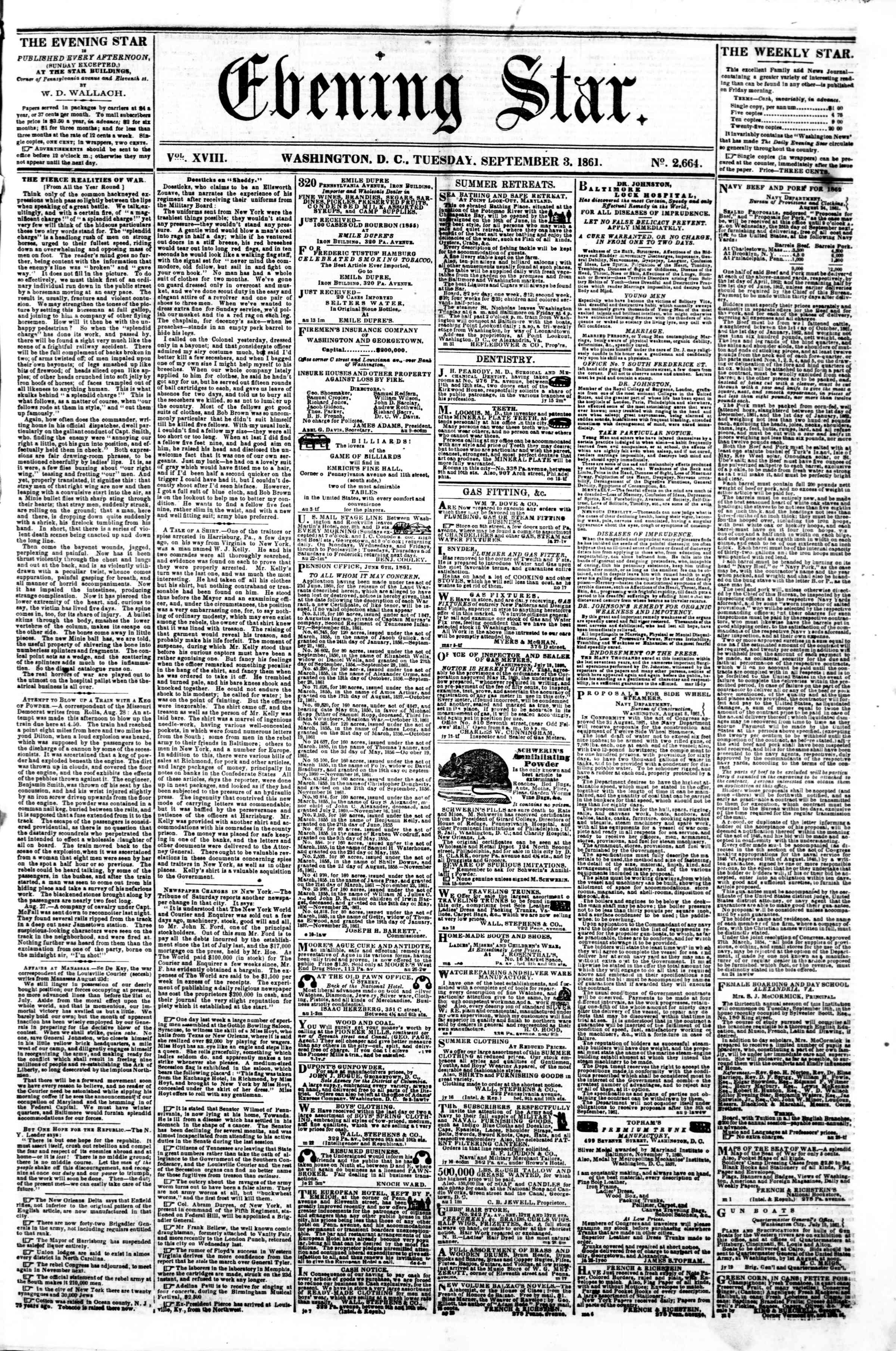 Newspaper of Evening Star dated September 3, 1861 Page 1
