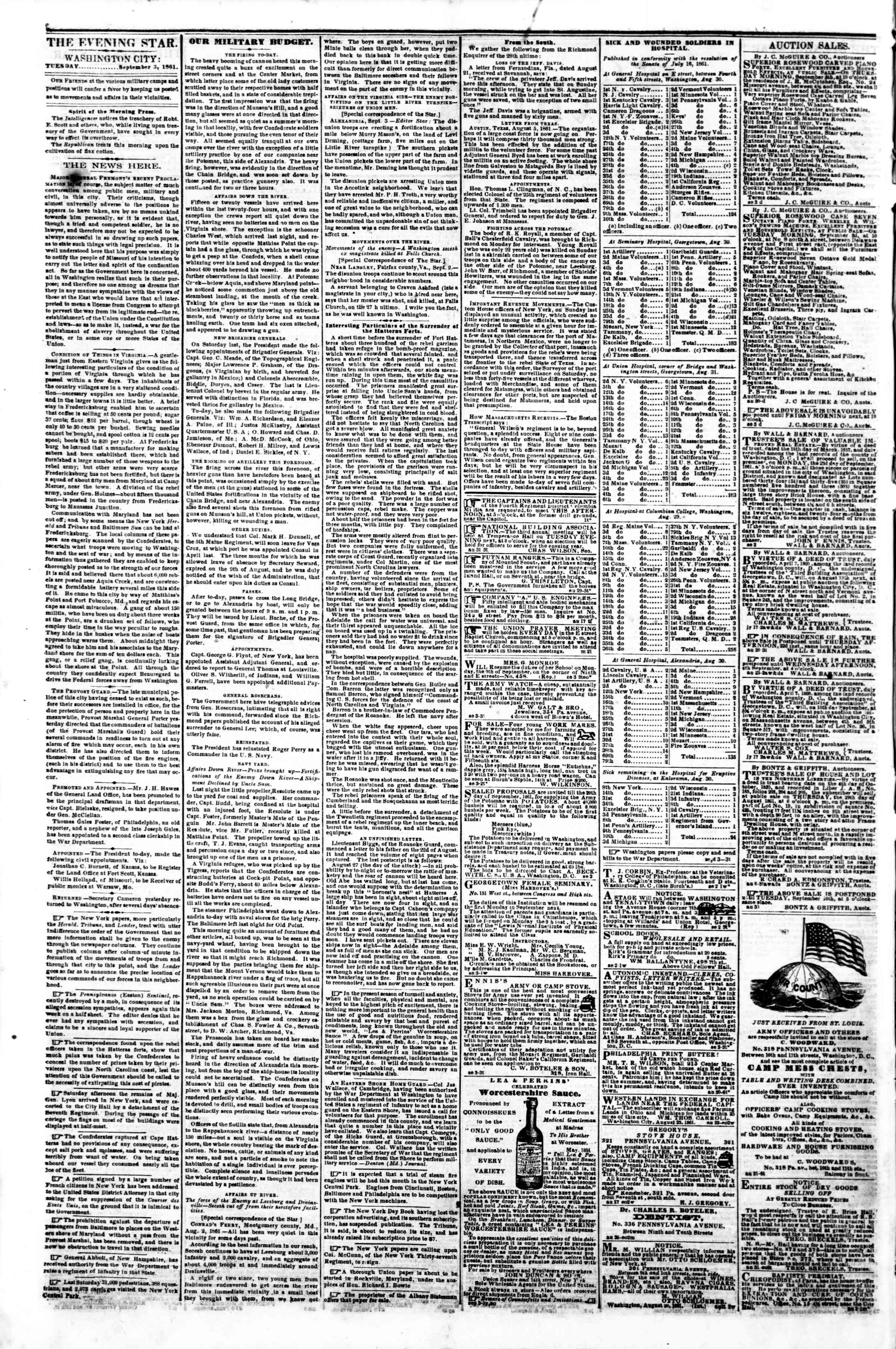Newspaper of Evening Star dated September 3, 1861 Page 2