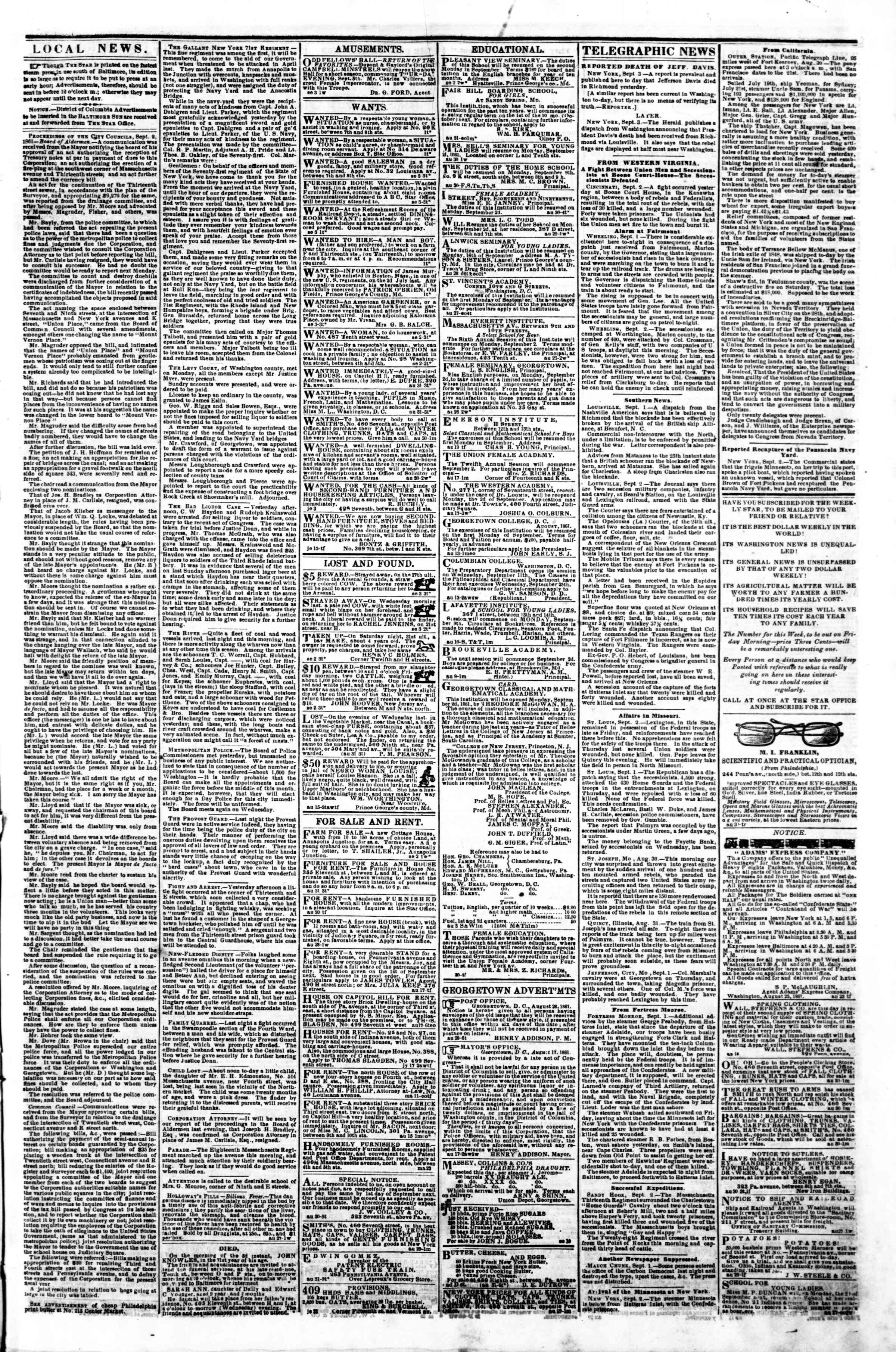 Newspaper of Evening Star dated September 3, 1861 Page 3