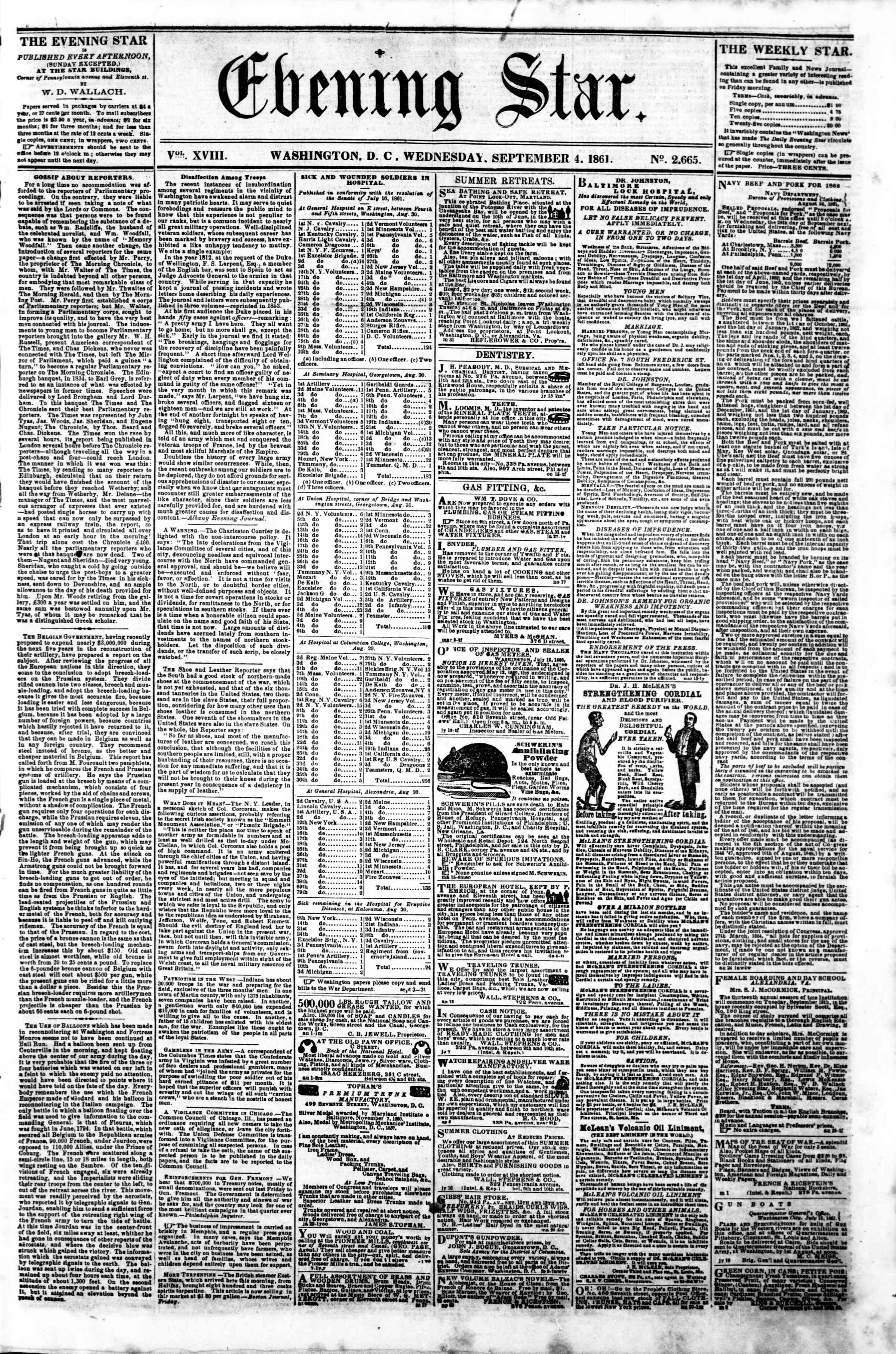 Newspaper of Evening Star dated September 4, 1861 Page 1