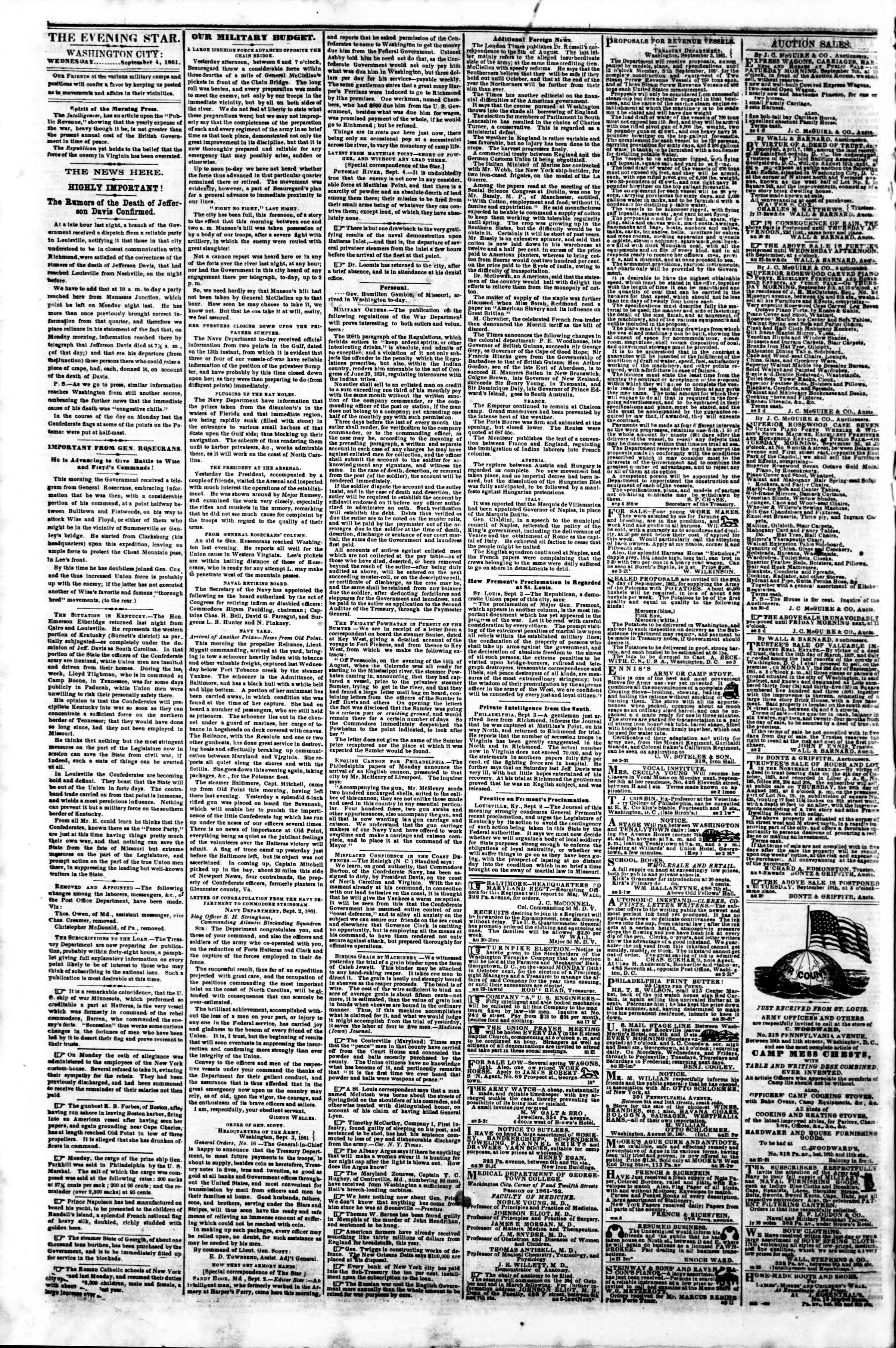 Newspaper of Evening Star dated September 4, 1861 Page 2