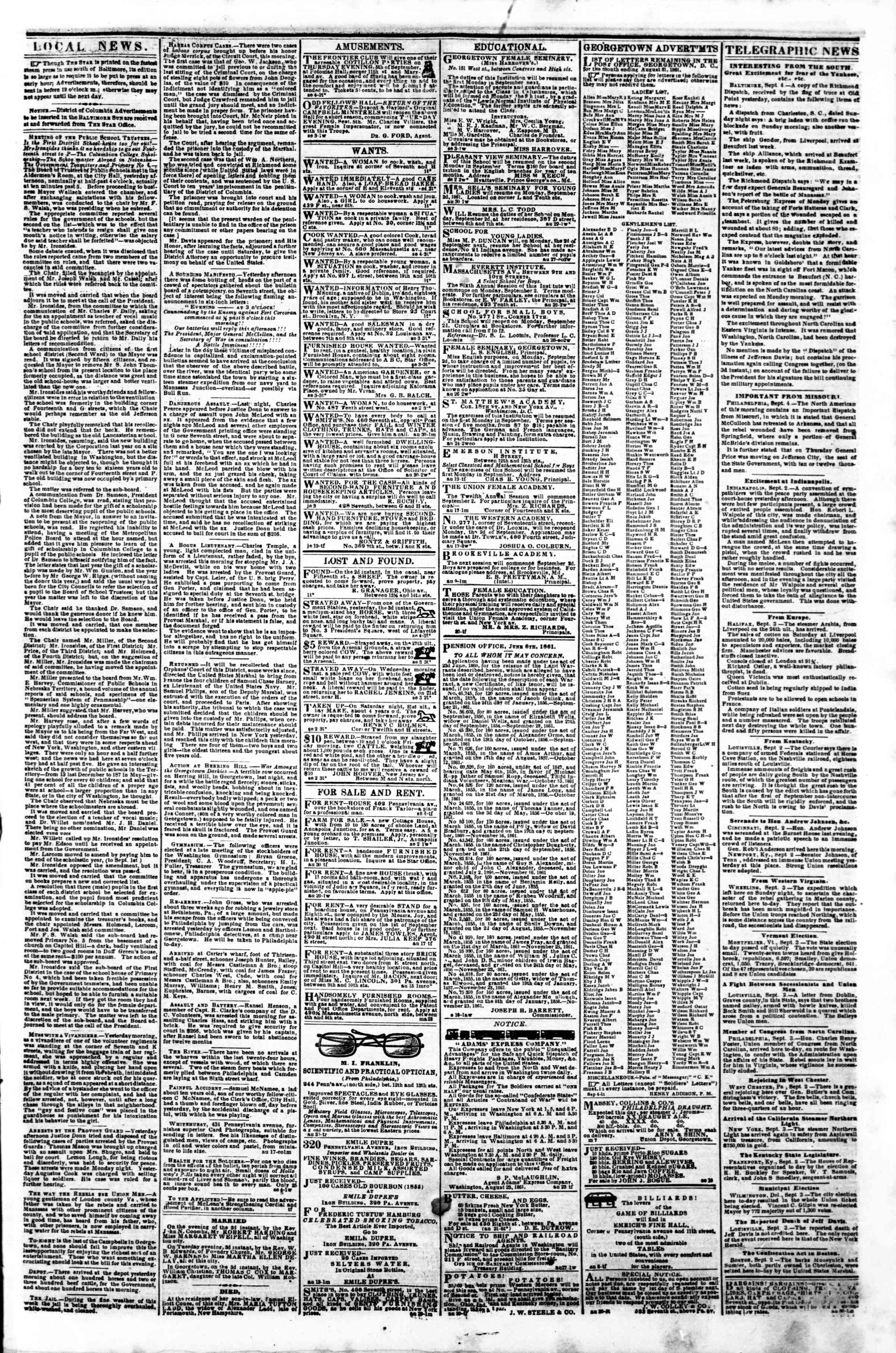 Newspaper of Evening Star dated September 4, 1861 Page 3