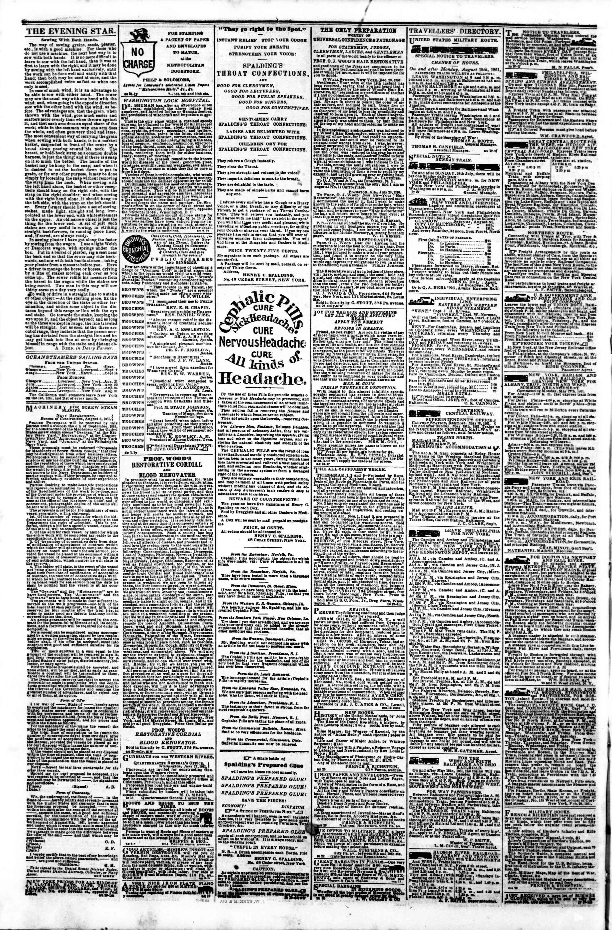 Newspaper of Evening Star dated September 4, 1861 Page 4