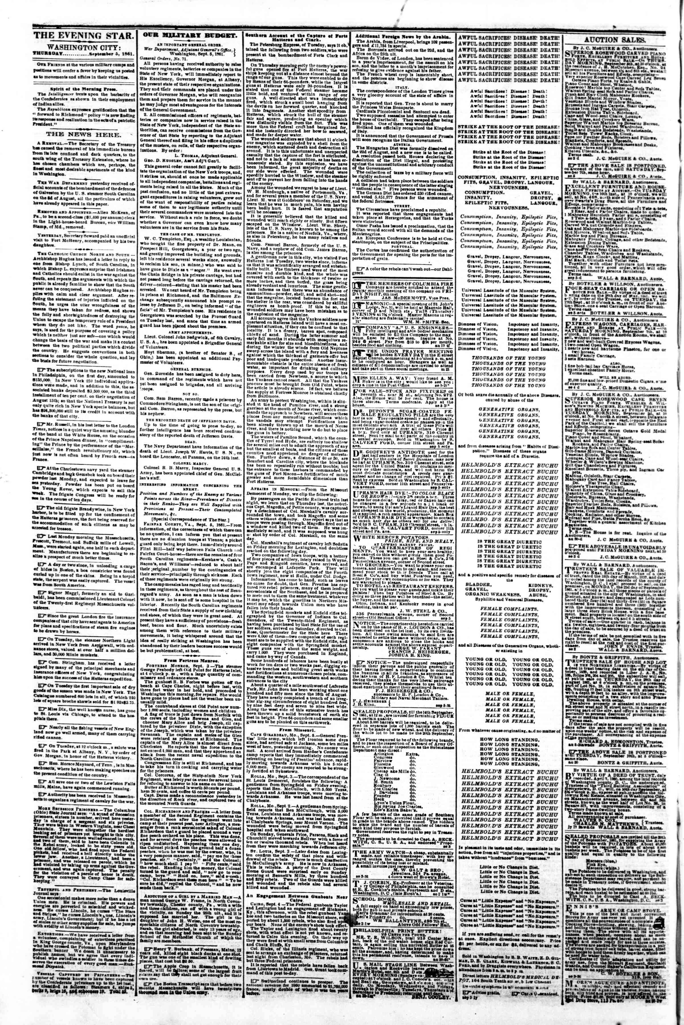 Newspaper of Evening Star dated September 5, 1861 Page 2
