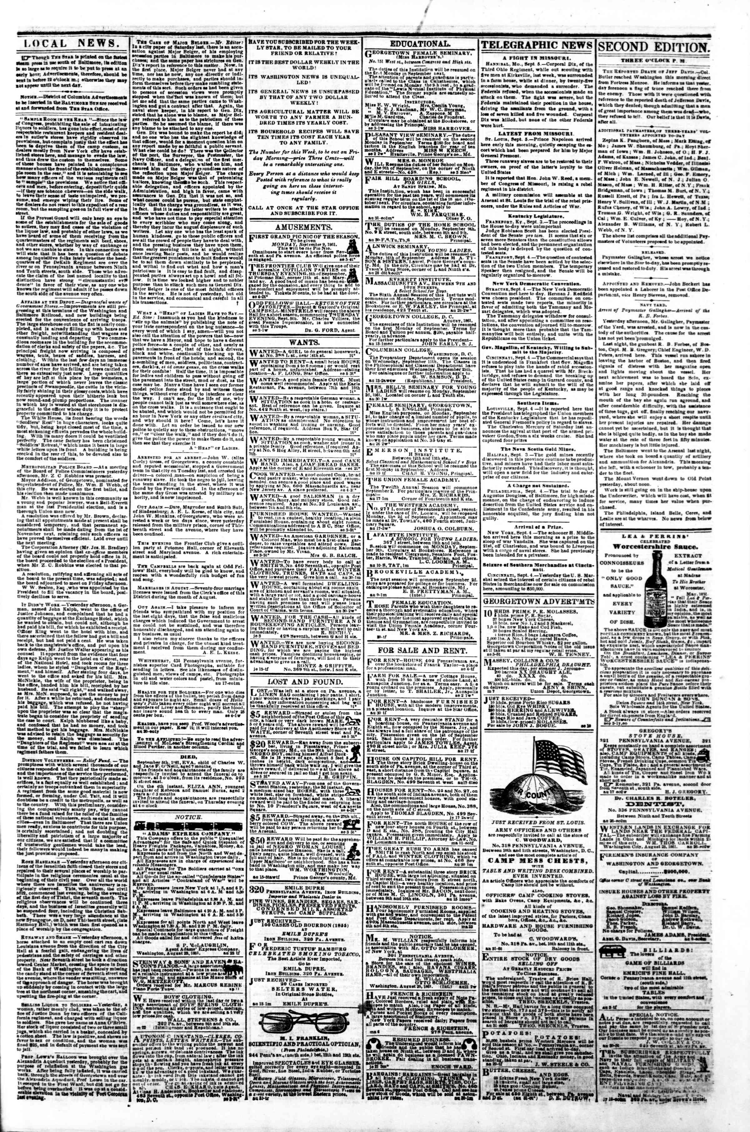 Newspaper of Evening Star dated September 5, 1861 Page 3