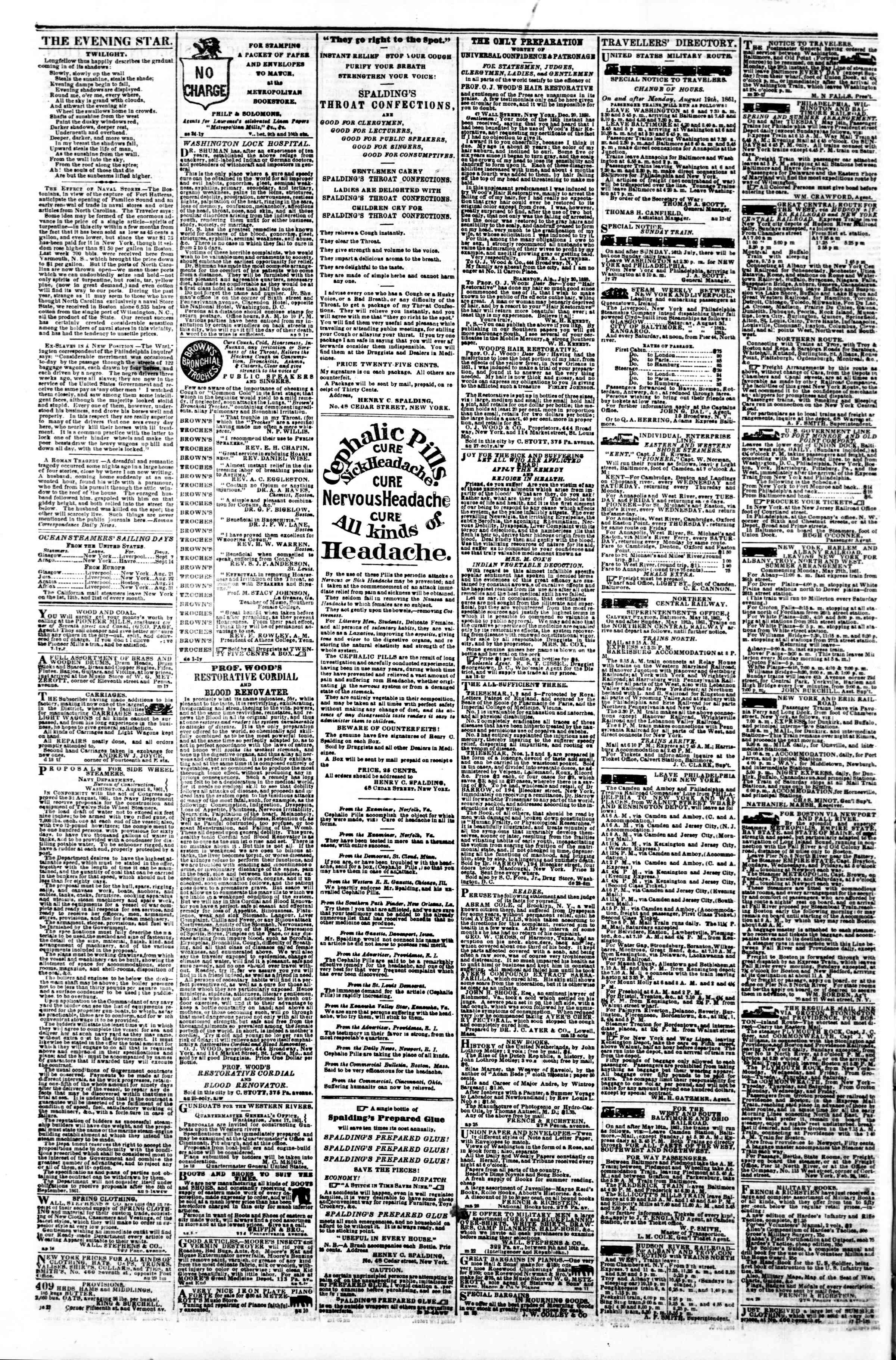 Newspaper of Evening Star dated September 5, 1861 Page 4