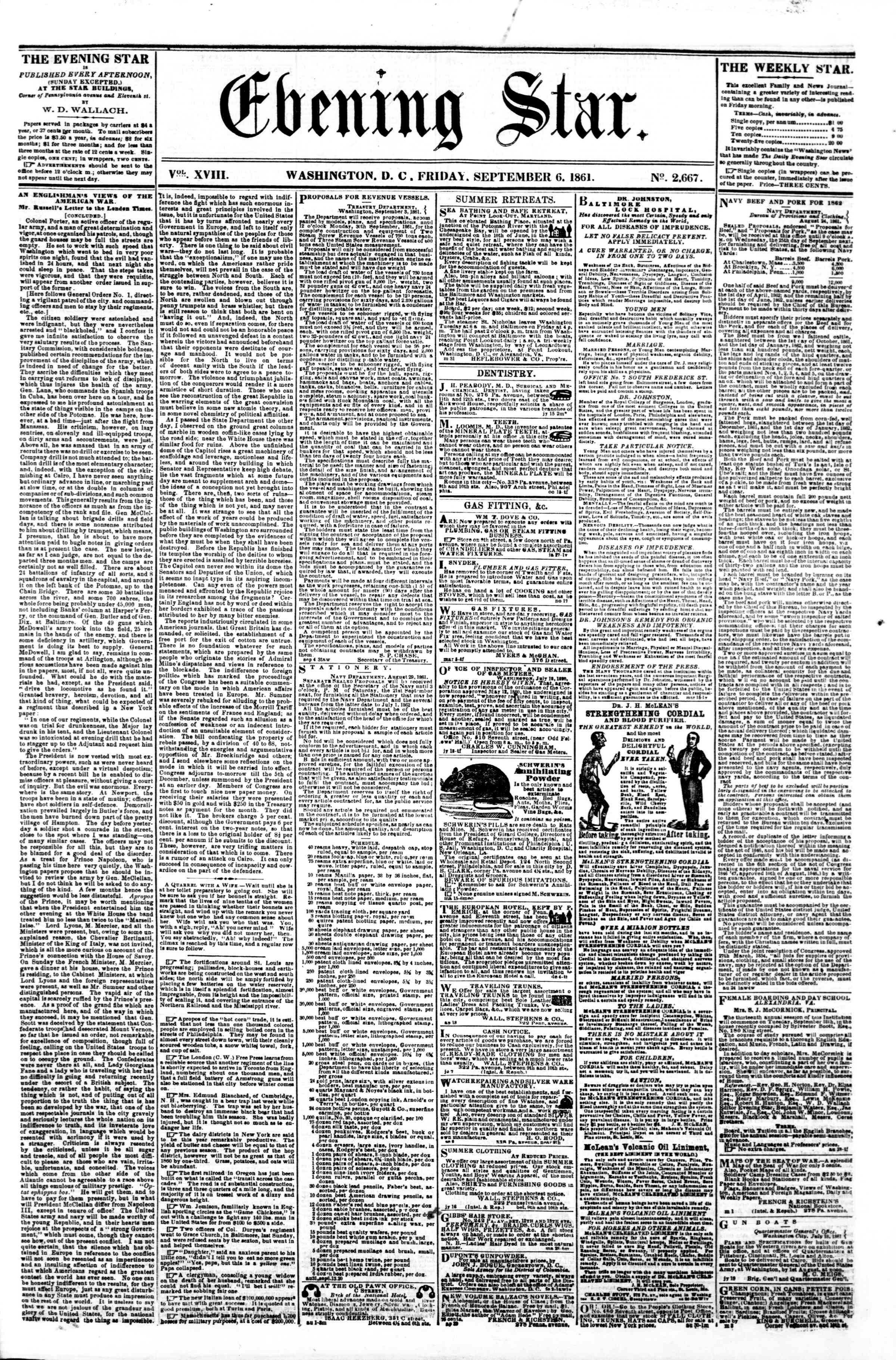Newspaper of Evening Star dated September 6, 1861 Page 1