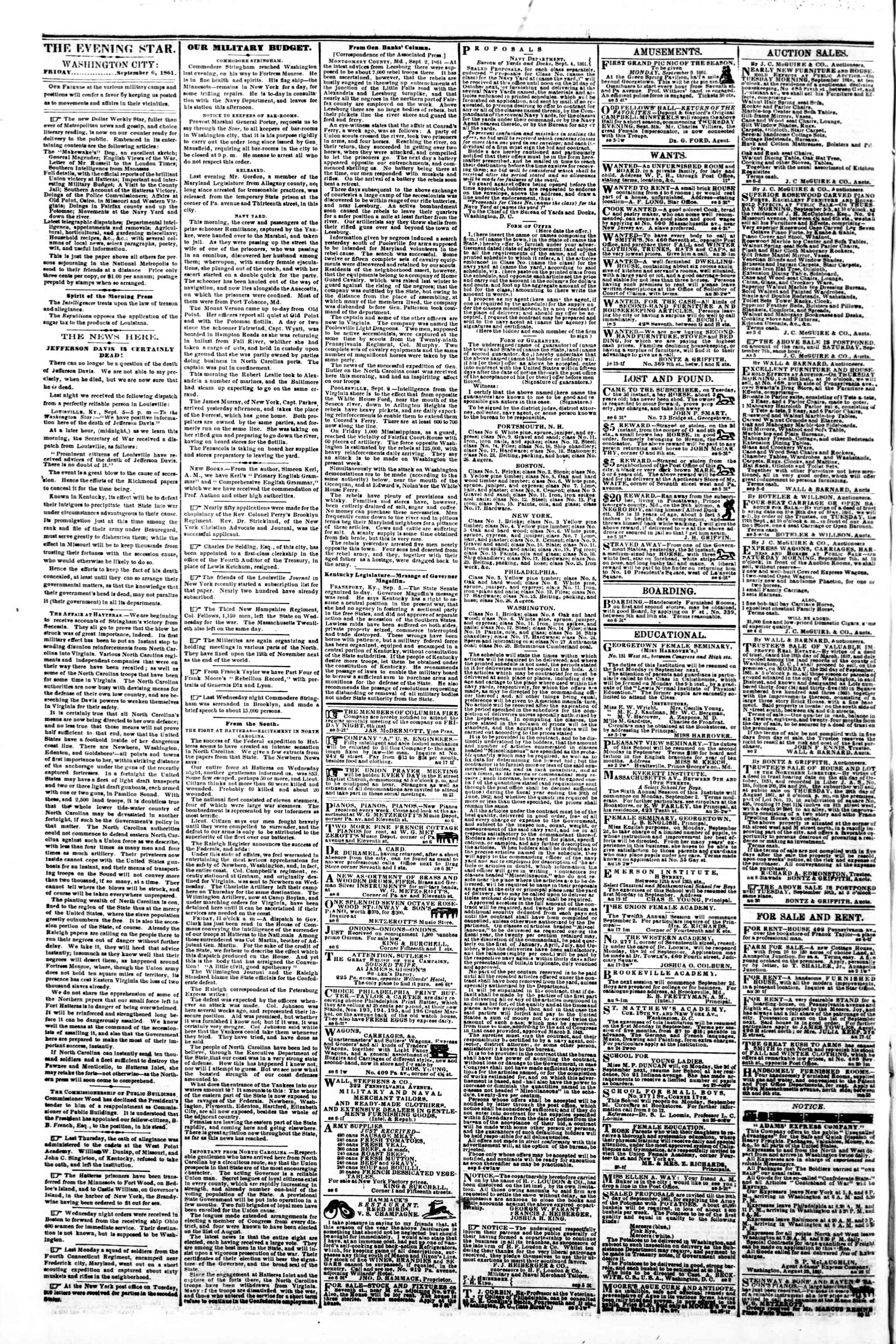 Newspaper of Evening Star dated September 6, 1861 Page 2