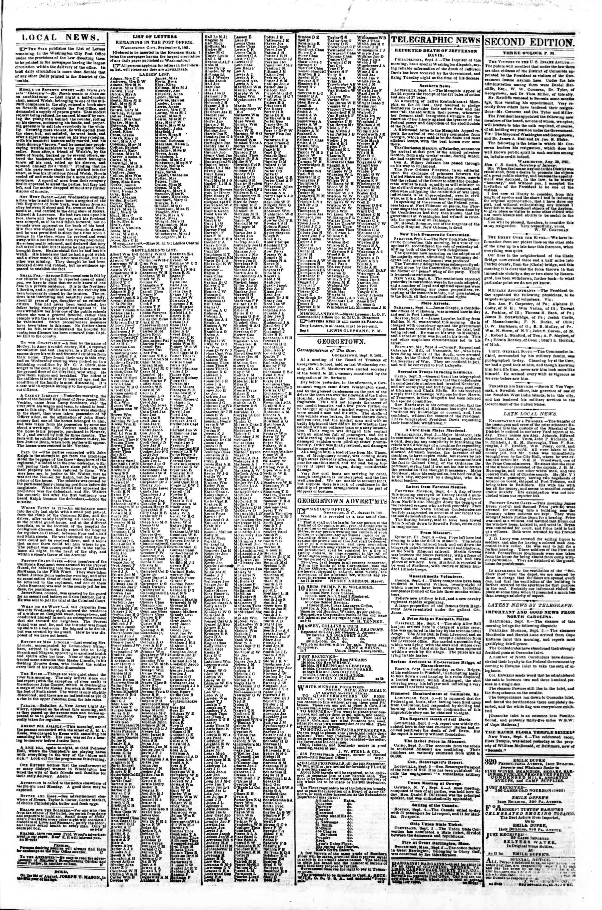 Newspaper of Evening Star dated September 6, 1861 Page 3