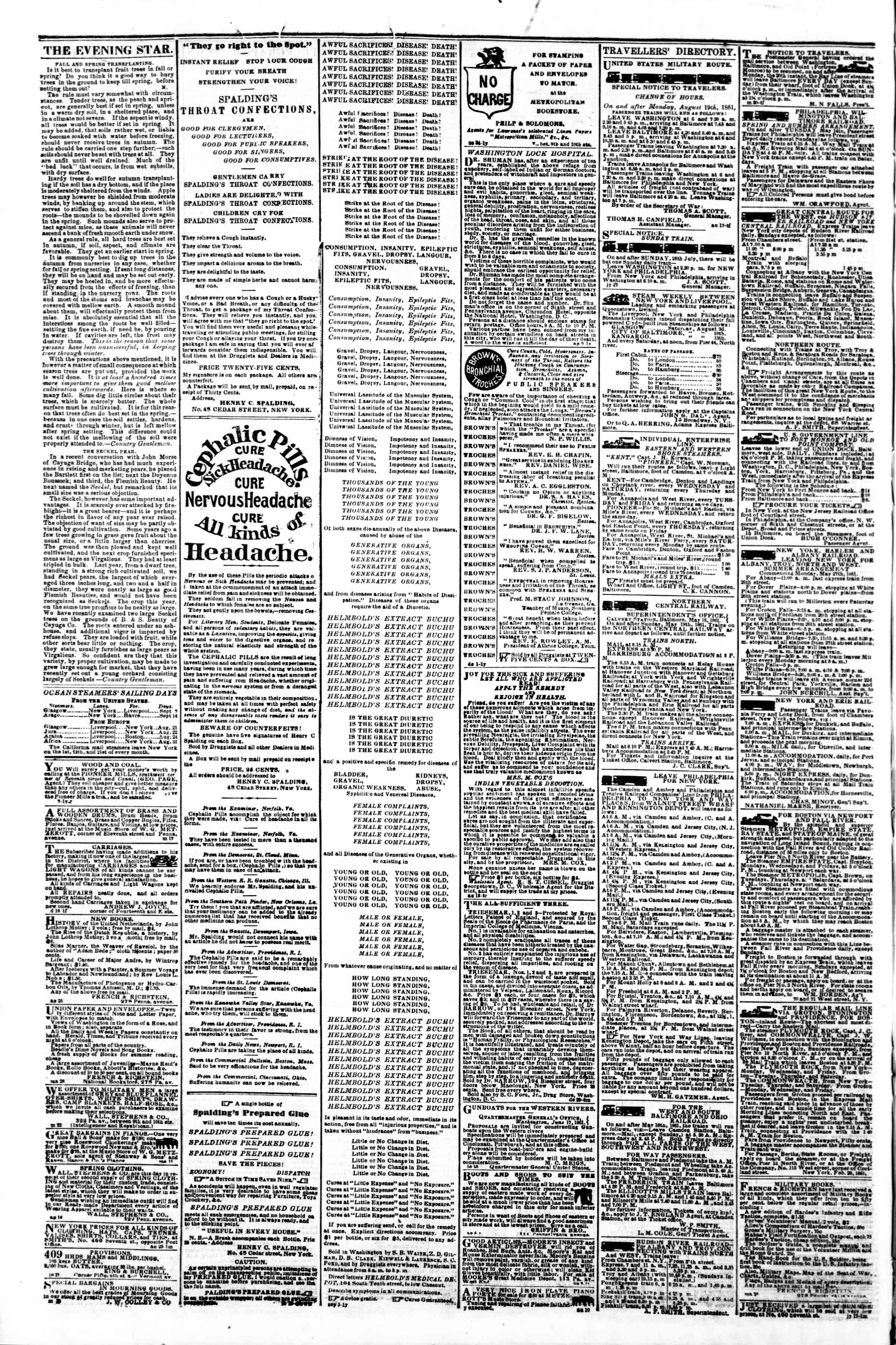Newspaper of Evening Star dated September 6, 1861 Page 4