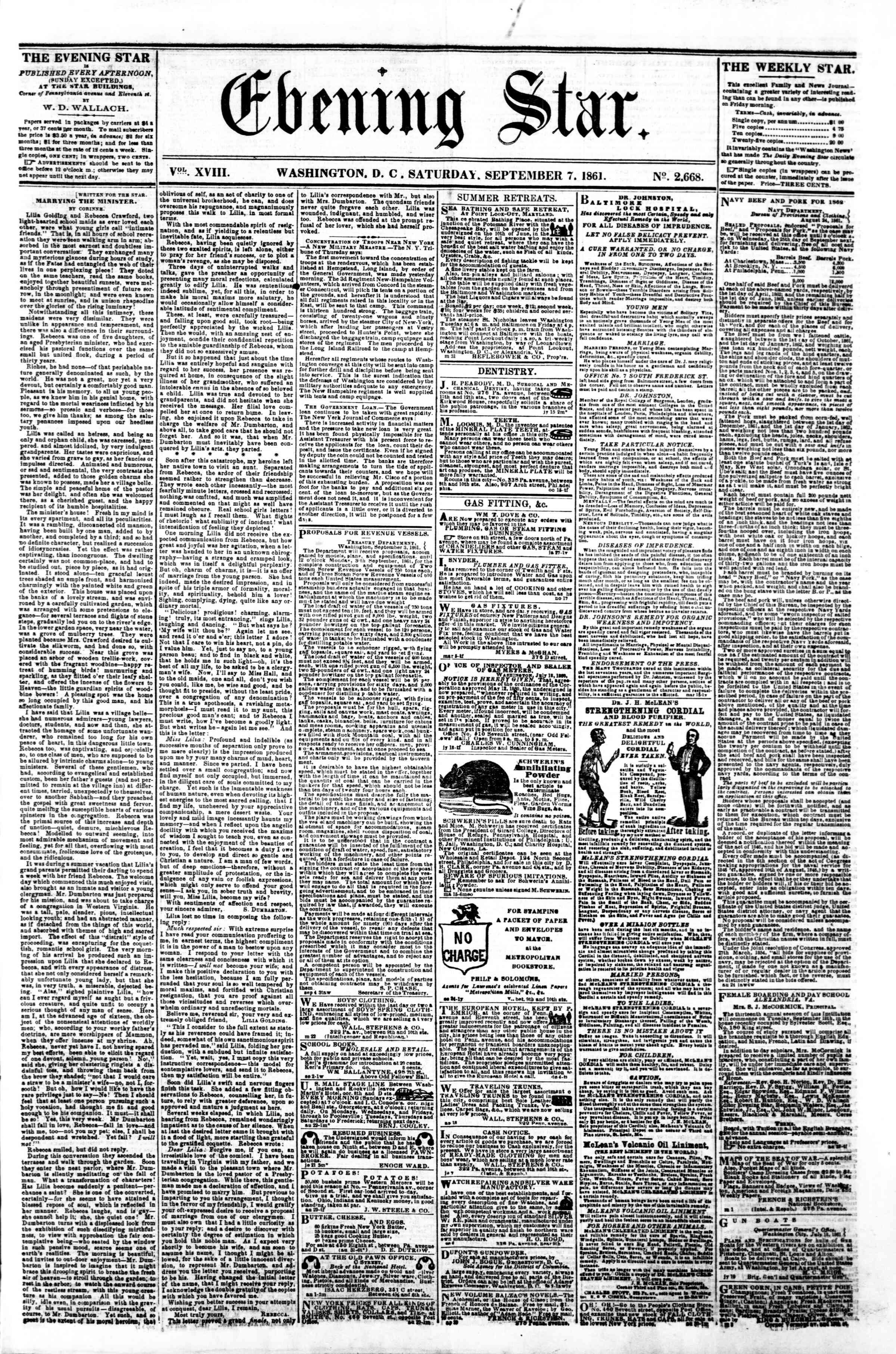 Newspaper of Evening Star dated September 7, 1861 Page 1