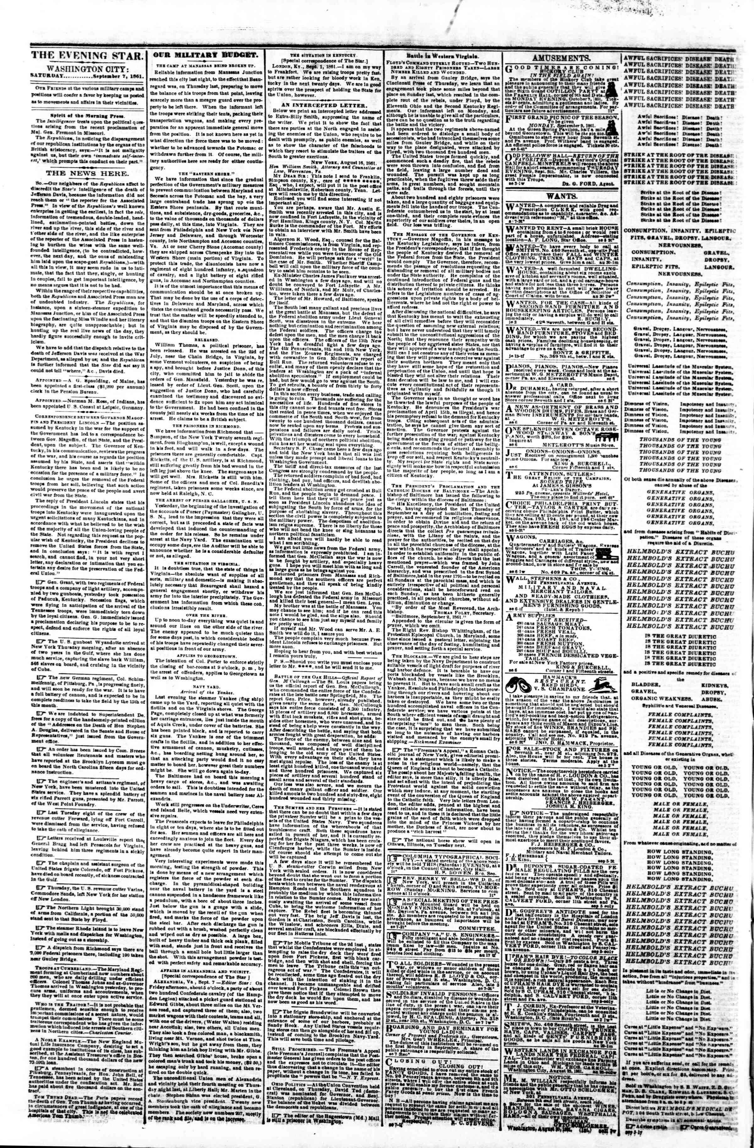 Newspaper of Evening Star dated September 7, 1861 Page 2