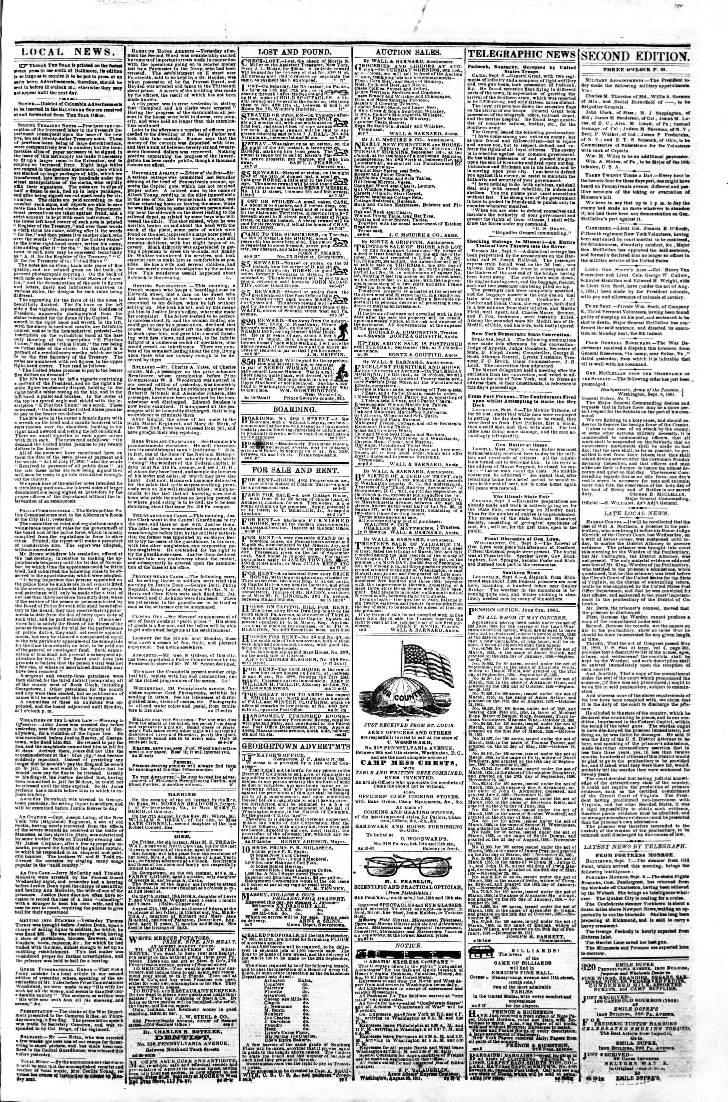 Newspaper of Evening Star dated September 7, 1861 Page 3