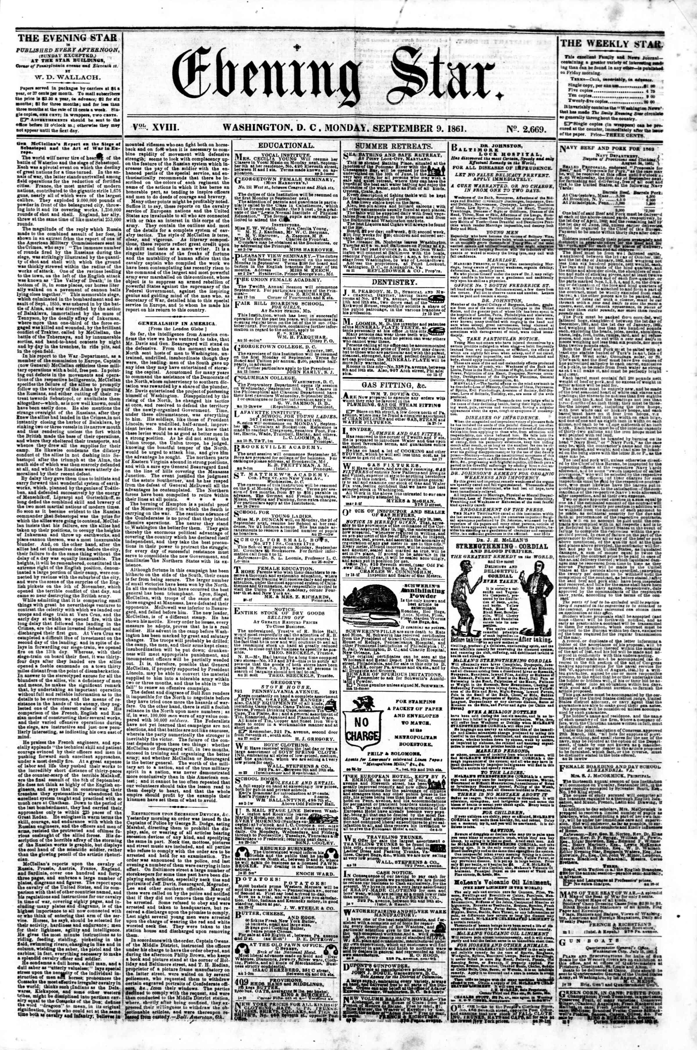 Newspaper of Evening Star dated 9 Eylül 1861 Page 1