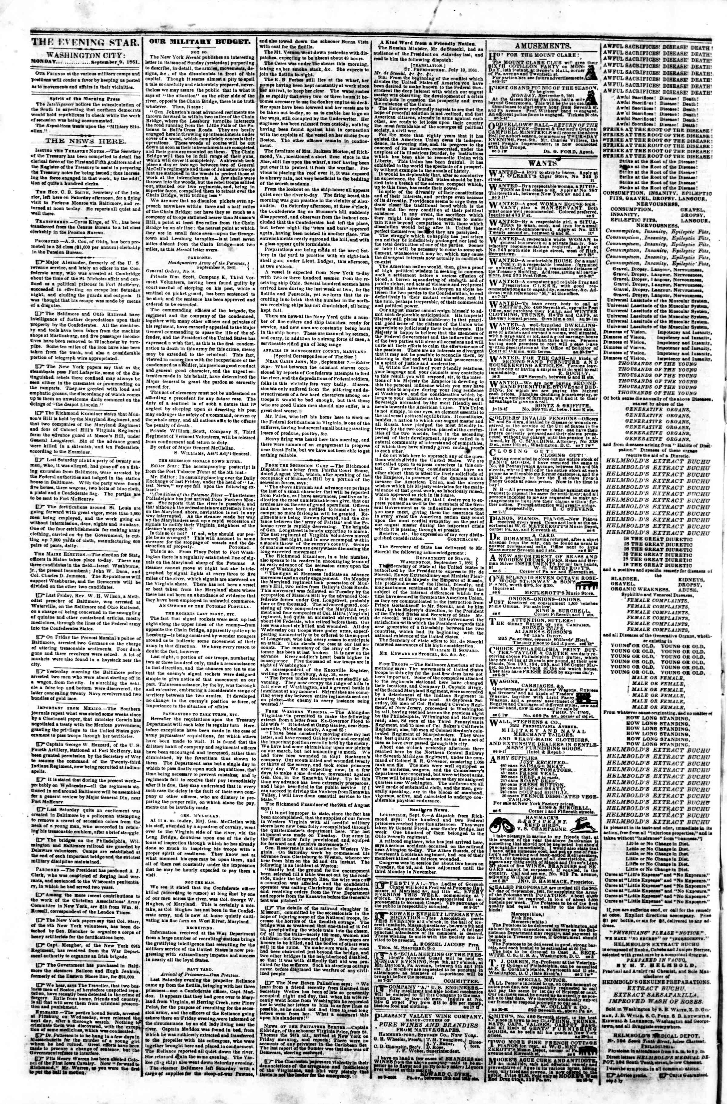 Newspaper of Evening Star dated September 9, 1861 Page 2