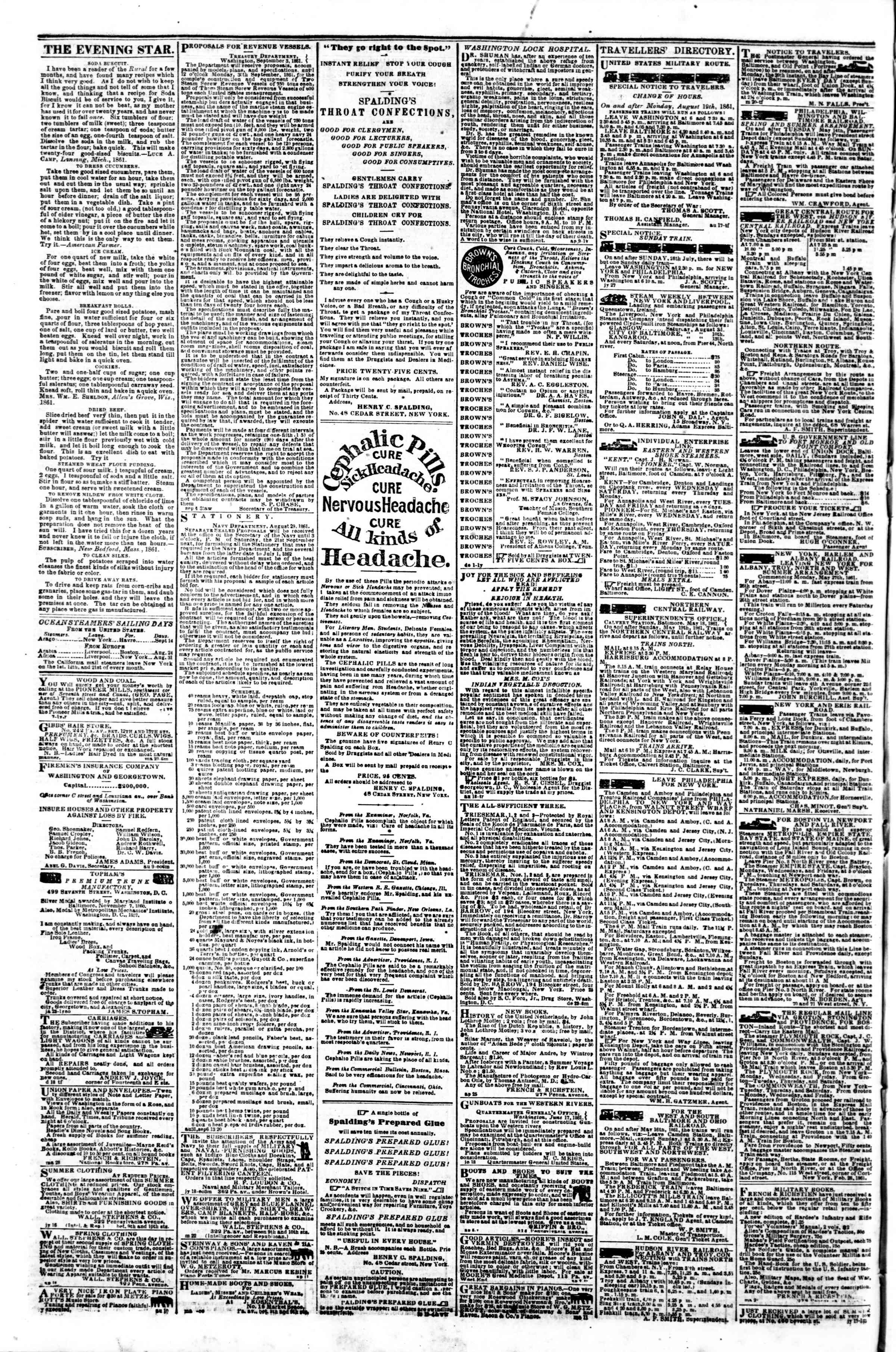 Newspaper of Evening Star dated September 9, 1861 Page 4