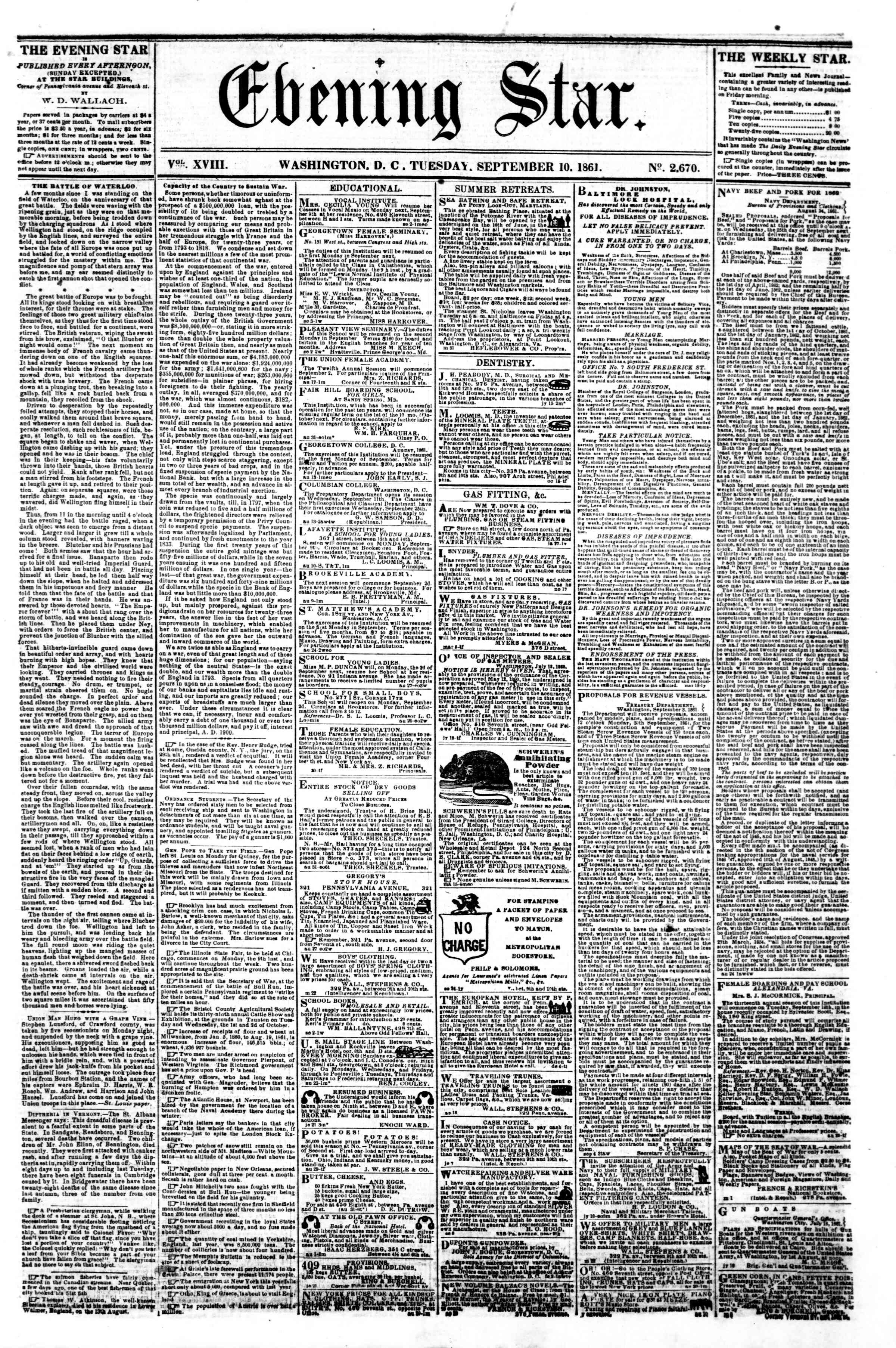 Newspaper of Evening Star dated September 10, 1861 Page 1