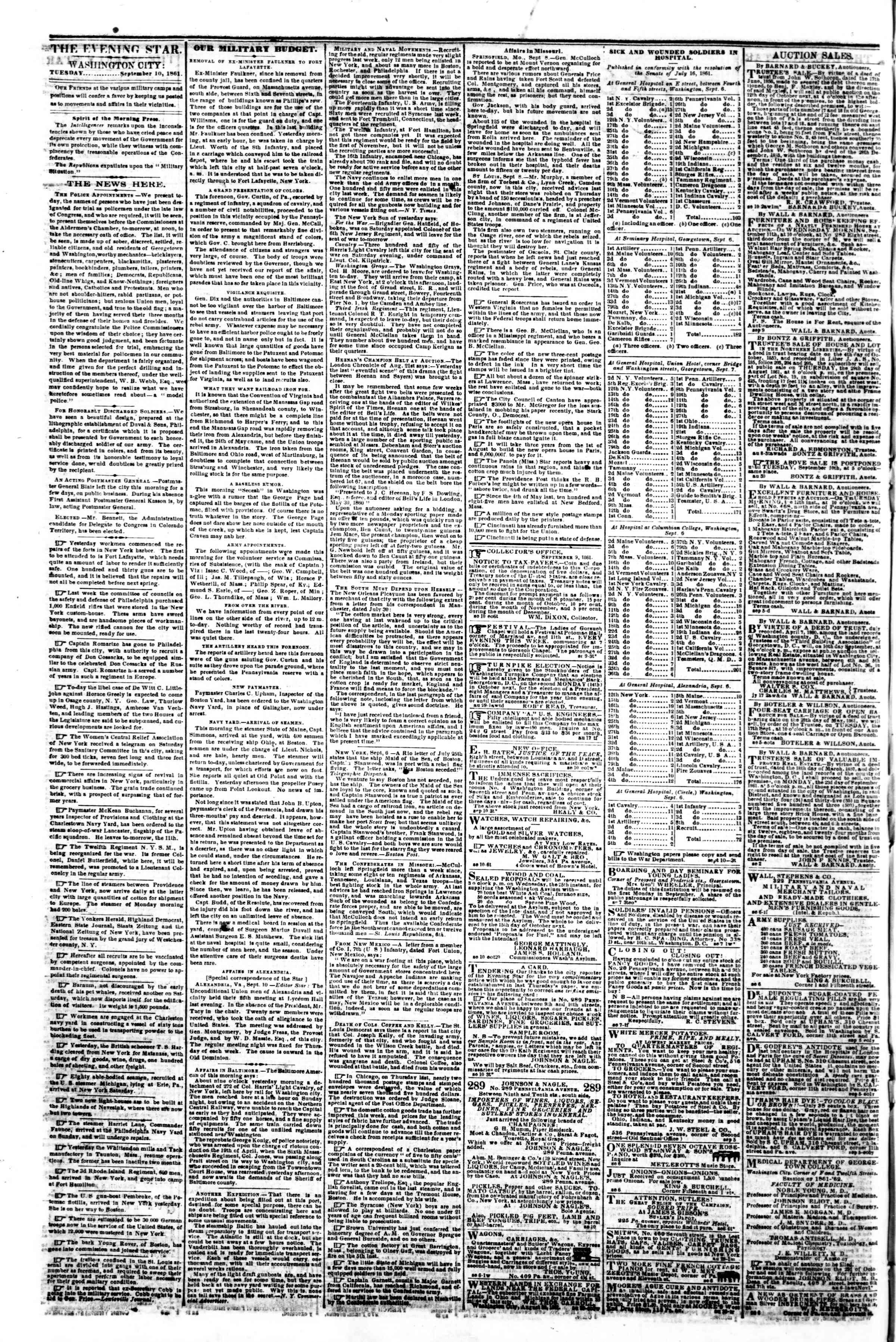 Newspaper of Evening Star dated September 10, 1861 Page 2