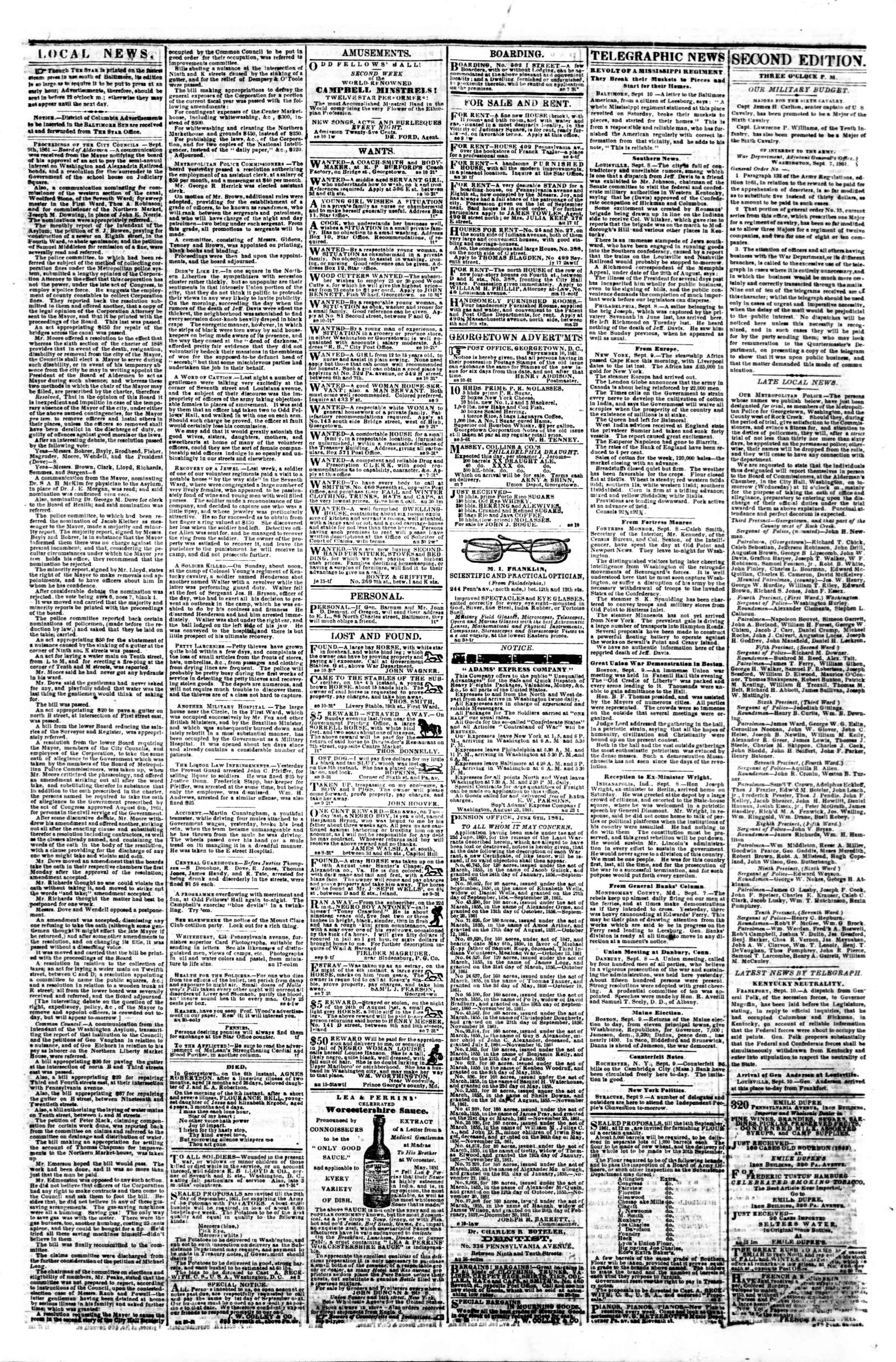 Newspaper of Evening Star dated September 10, 1861 Page 3
