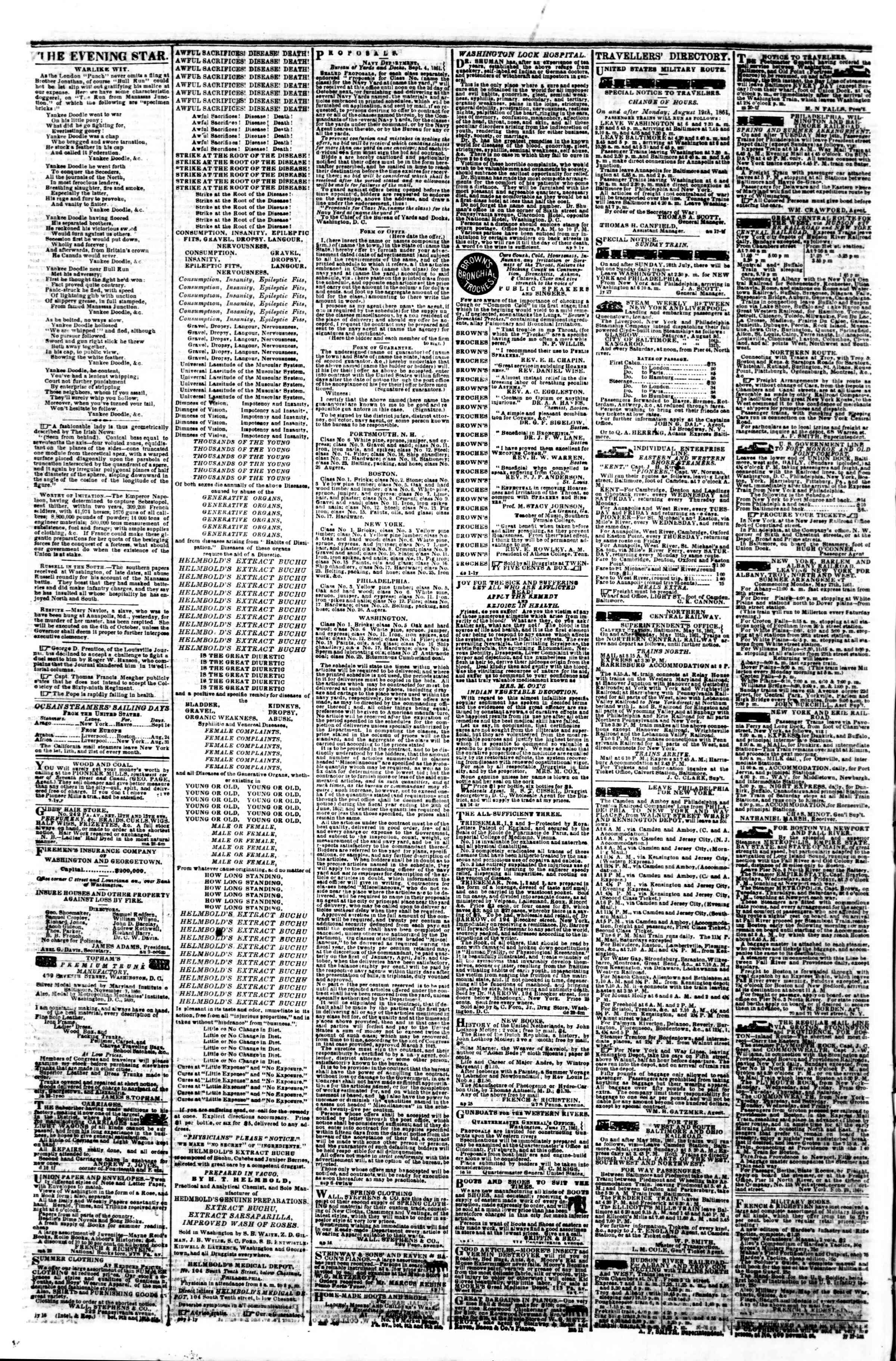 Newspaper of Evening Star dated September 10, 1861 Page 4