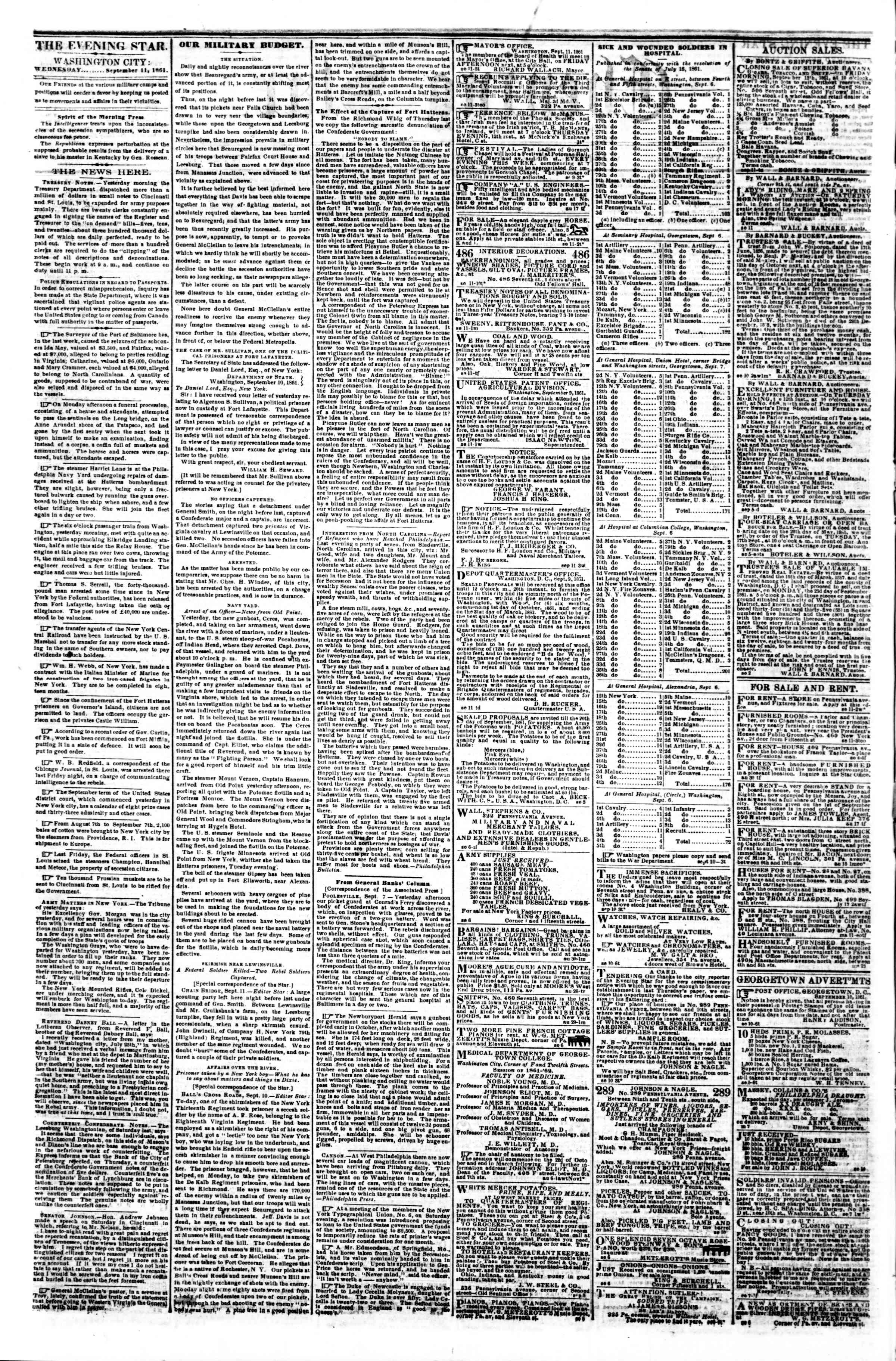 Newspaper of Evening Star dated September 11, 1861 Page 2