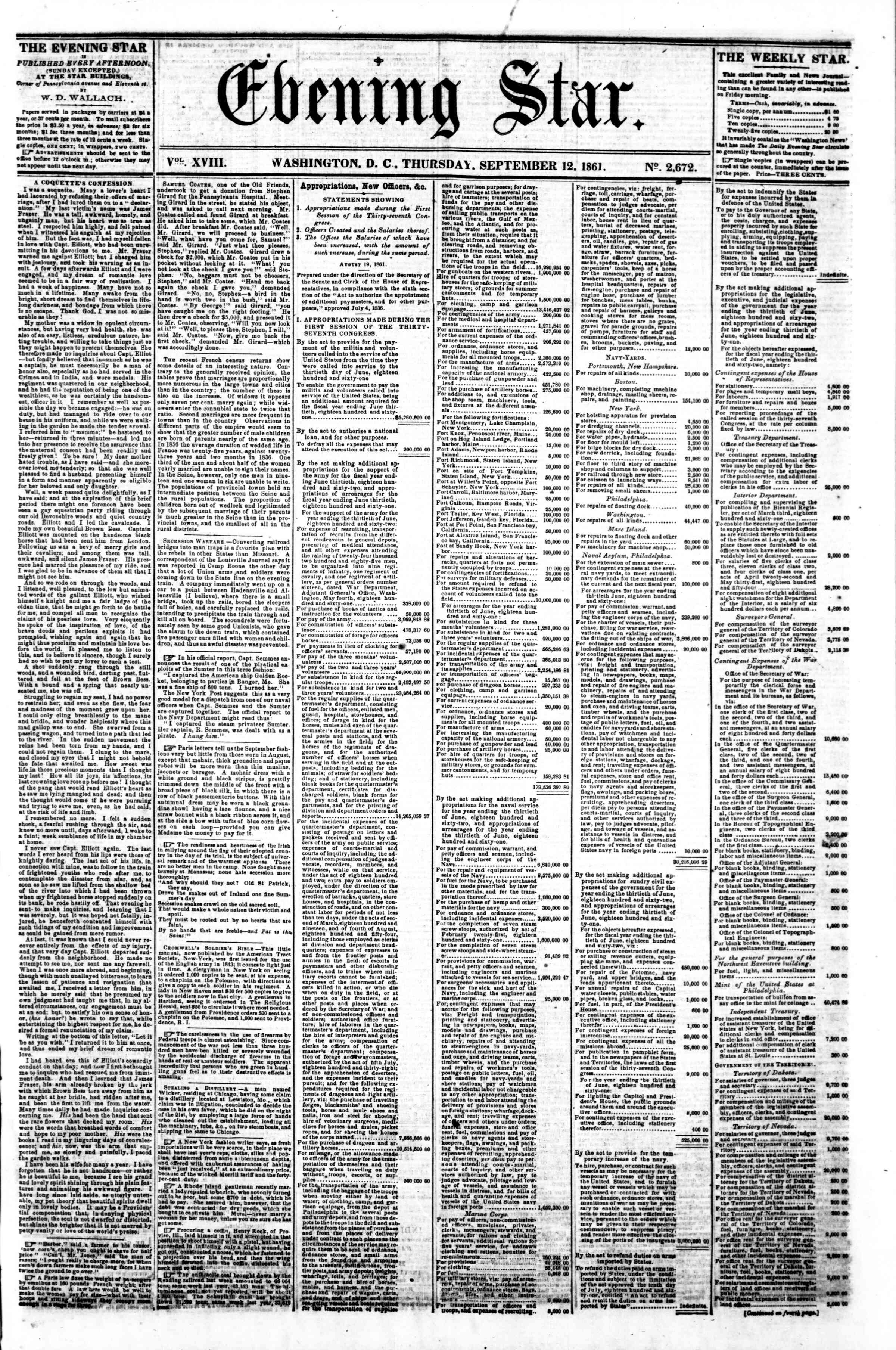 Newspaper of Evening Star dated September 12, 1861 Page 1