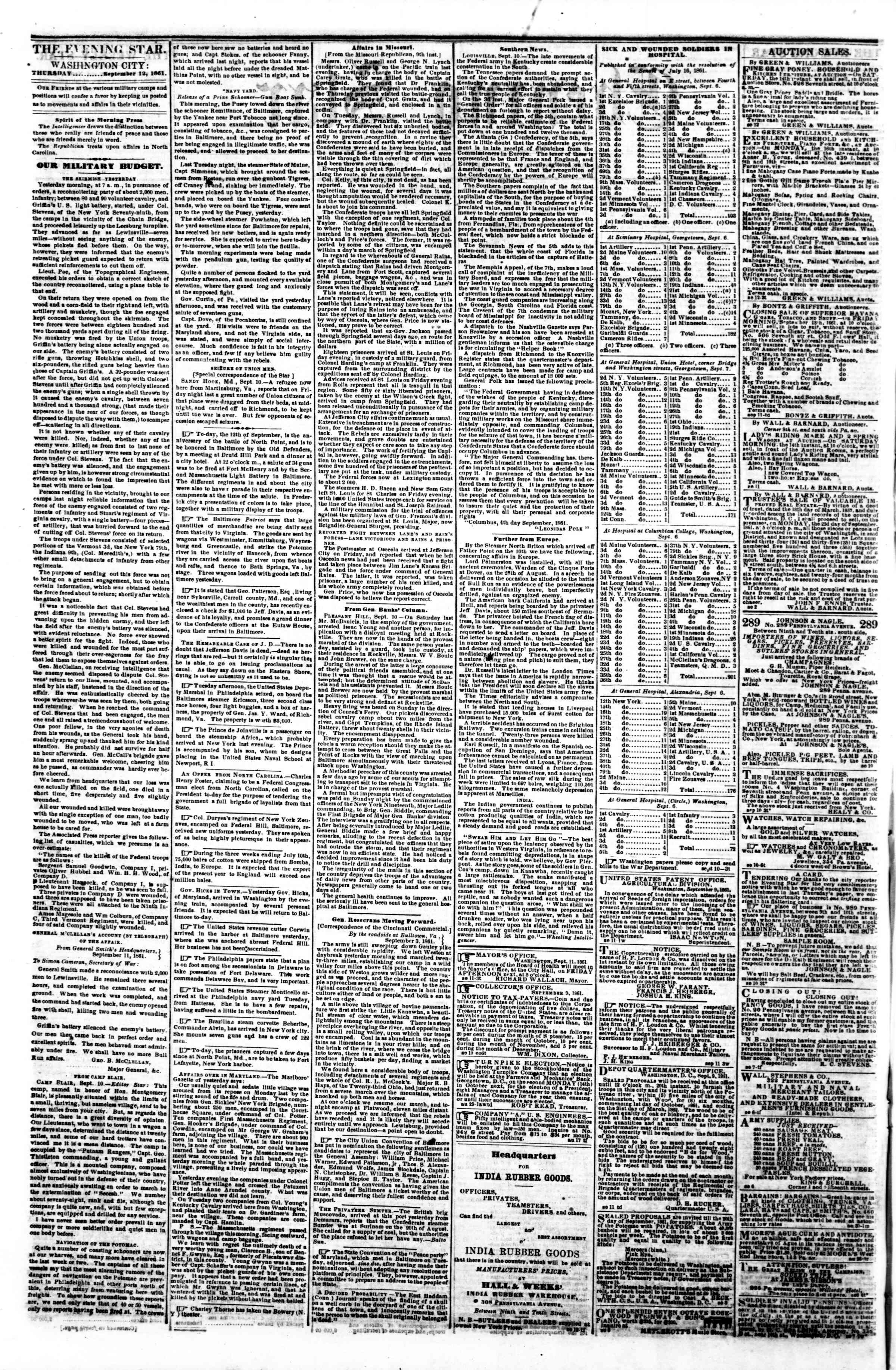 Newspaper of Evening Star dated September 12, 1861 Page 2