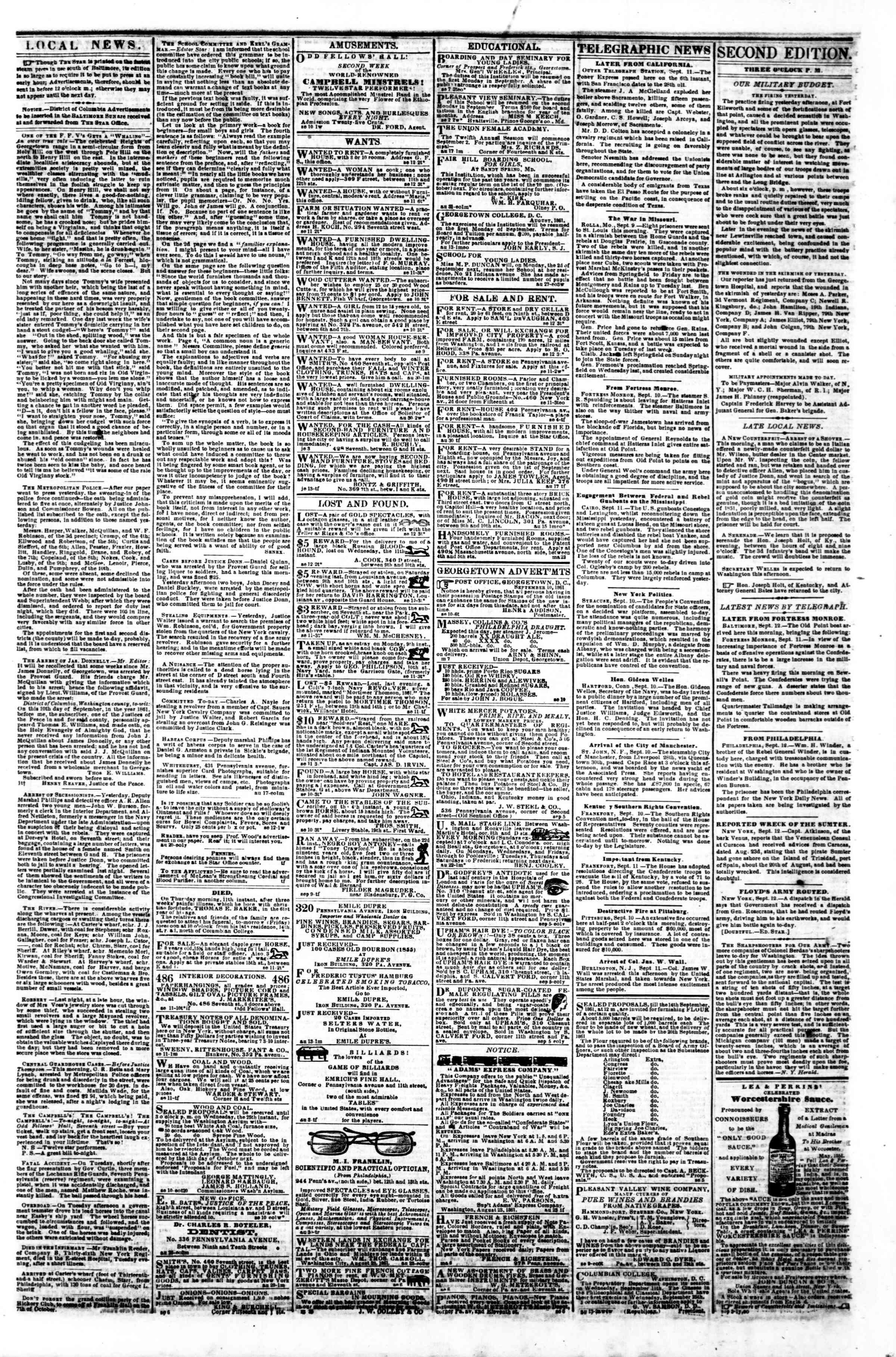12 Eylül 1861 tarihli Evening Star Gazetesi Sayfa 3