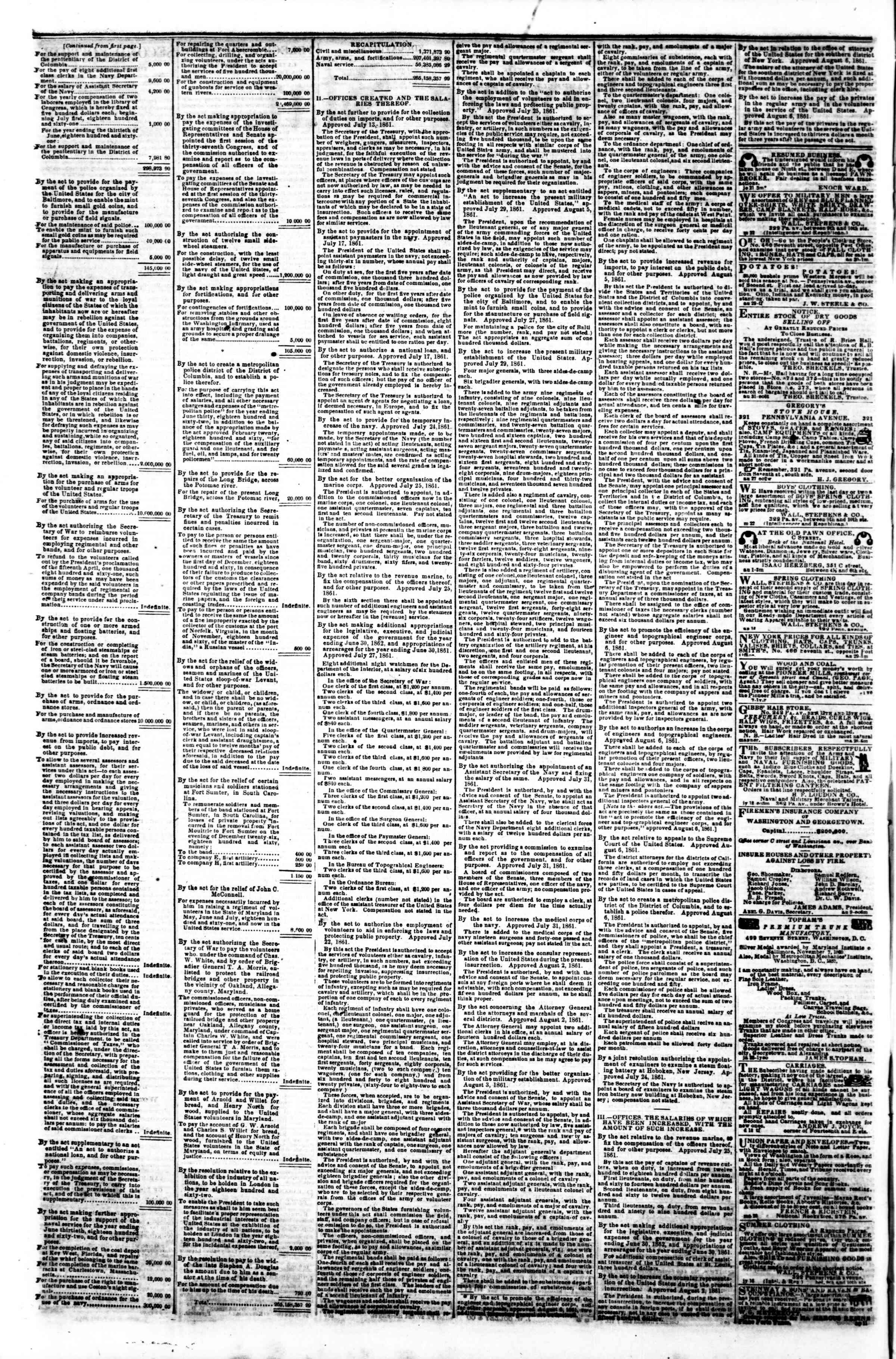 12 Eylül 1861 tarihli Evening Star Gazetesi Sayfa 4