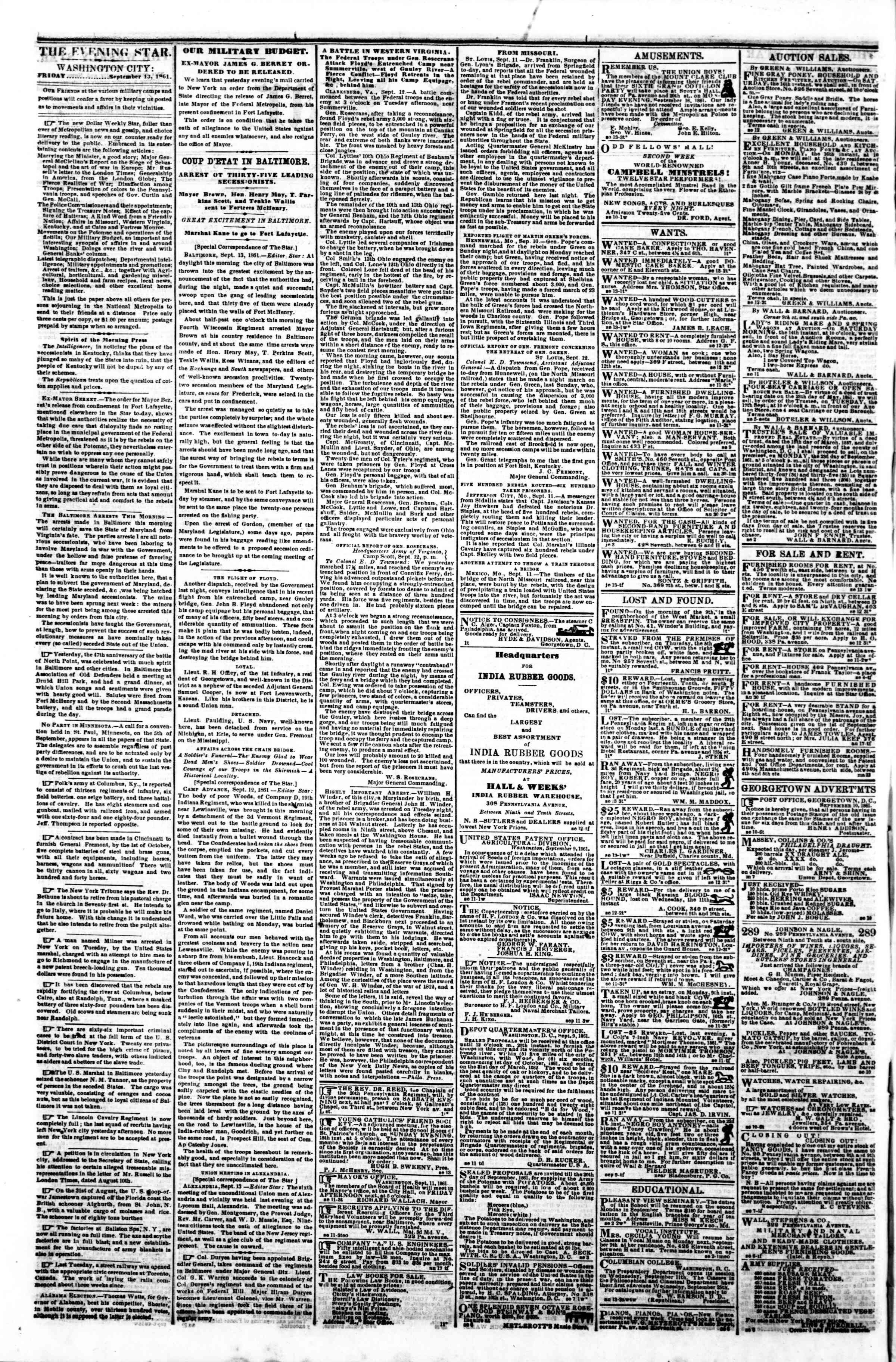 Newspaper of Evening Star dated 13 Eylül 1861 Page 2